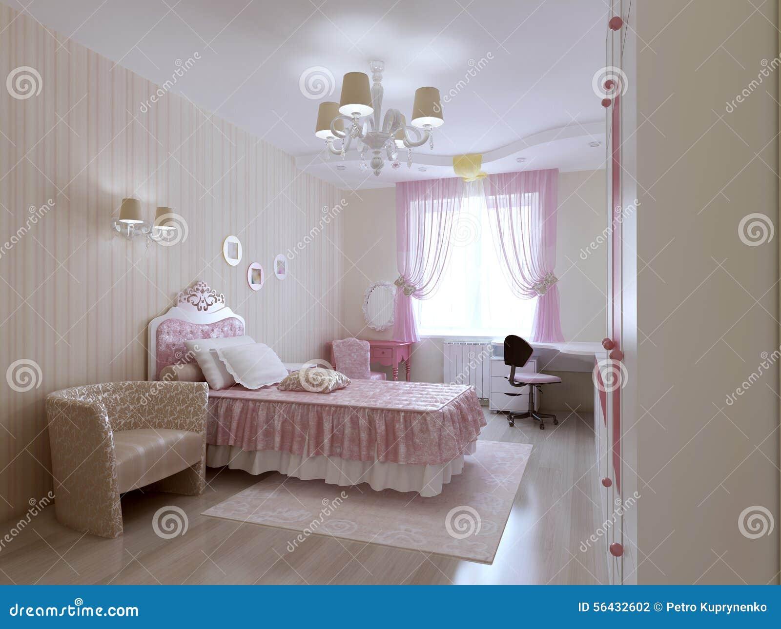 Giovane camera da letto di principessa illustrazione di stock illustrazione di chandelier - Letto principessa ...