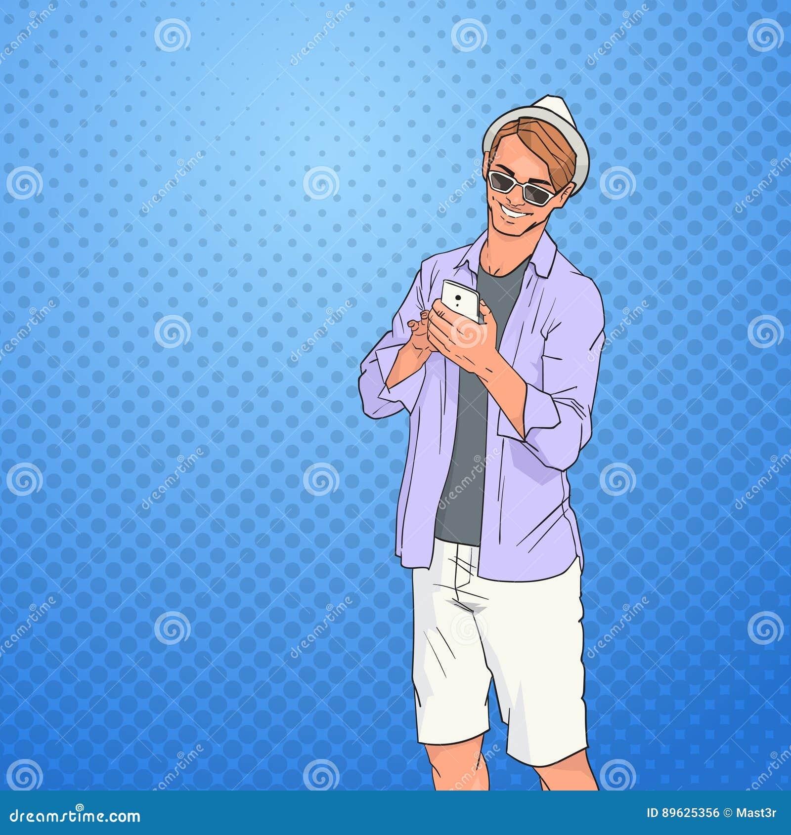 Giovane che usando la rete dello Smart Phone delle cellule online sopra lo schiocco Art Colorful Retro Style Background