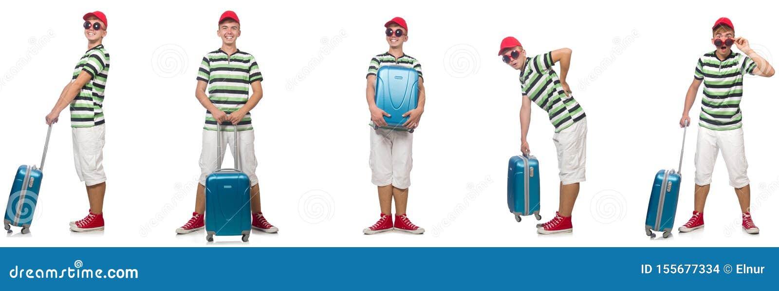 Giovane con la valigia isolata su bianco