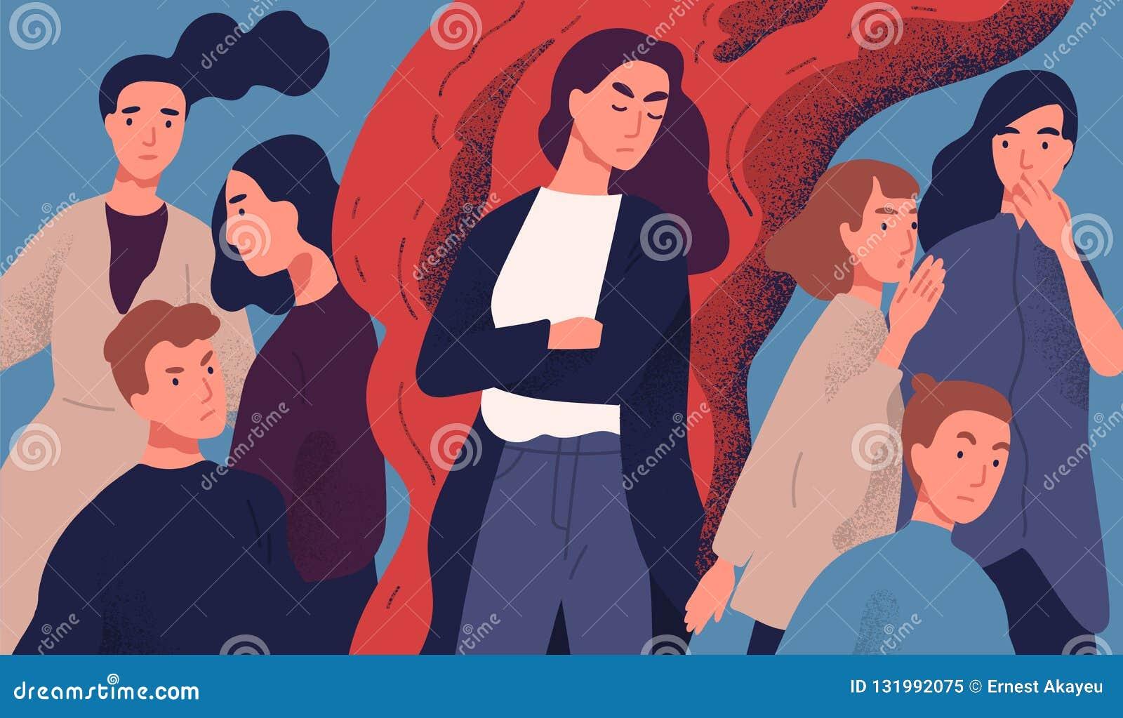 Giovane donna arrabbiata fra la gente non disposta a parlare con lei Concetto del problema di comunicazione con arrogante sgradev