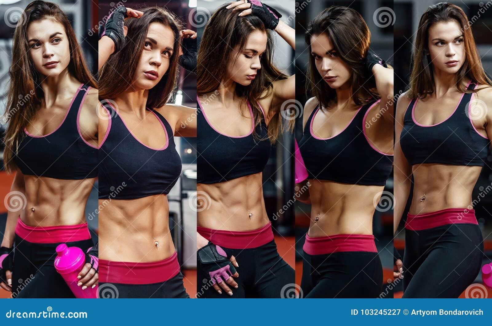 Giovane donna atletica dopo l allenamento duro alla palestra La ragazza di forma fisica tiene l agitatore con nutrizione allegra