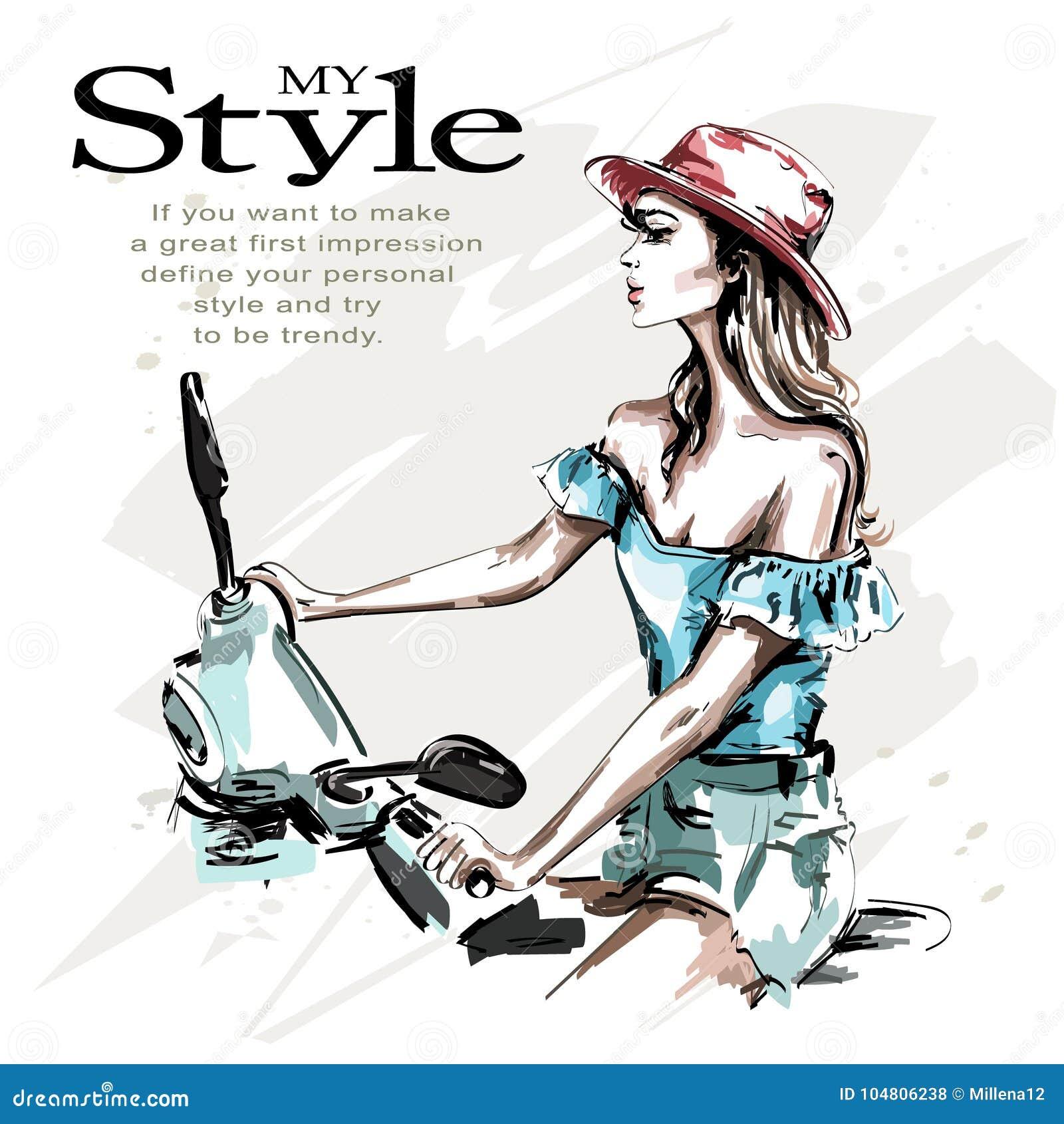Giovane donna bella disegnata a mano in cappello con il motorino Guida della donna di modo E