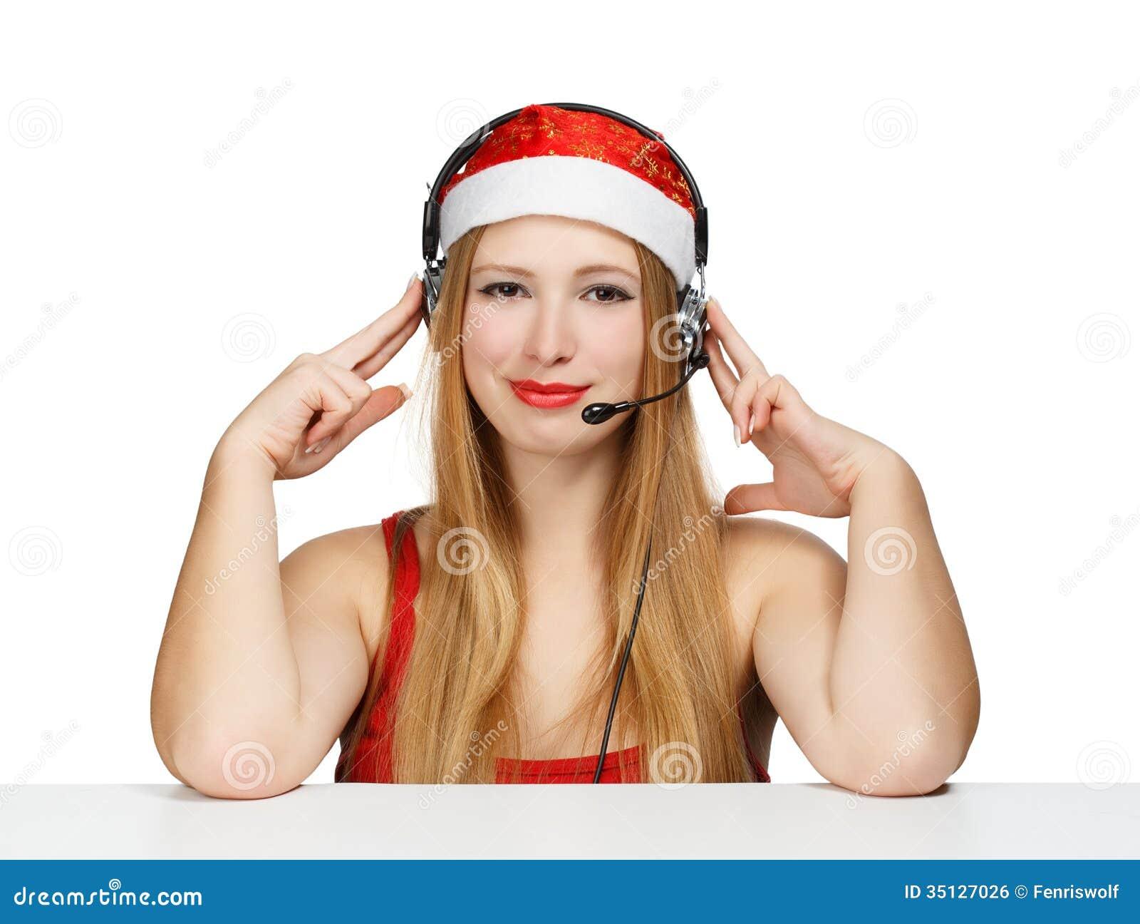 Giovane donna in cappello e cuffie del Babbo Natale isolati su bianco dac9d1d8797f