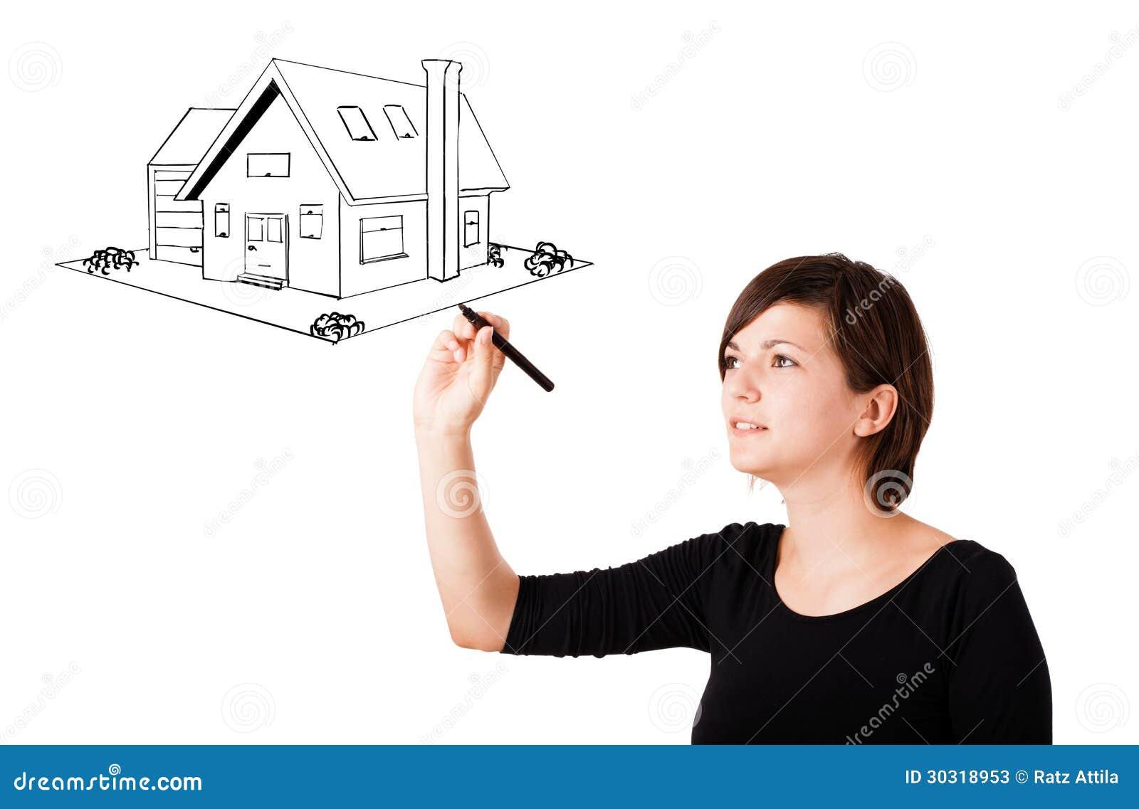 Giovane donna che disegna una casa sul whiteboard for Disegna i tuoi piani di casa gratuitamente