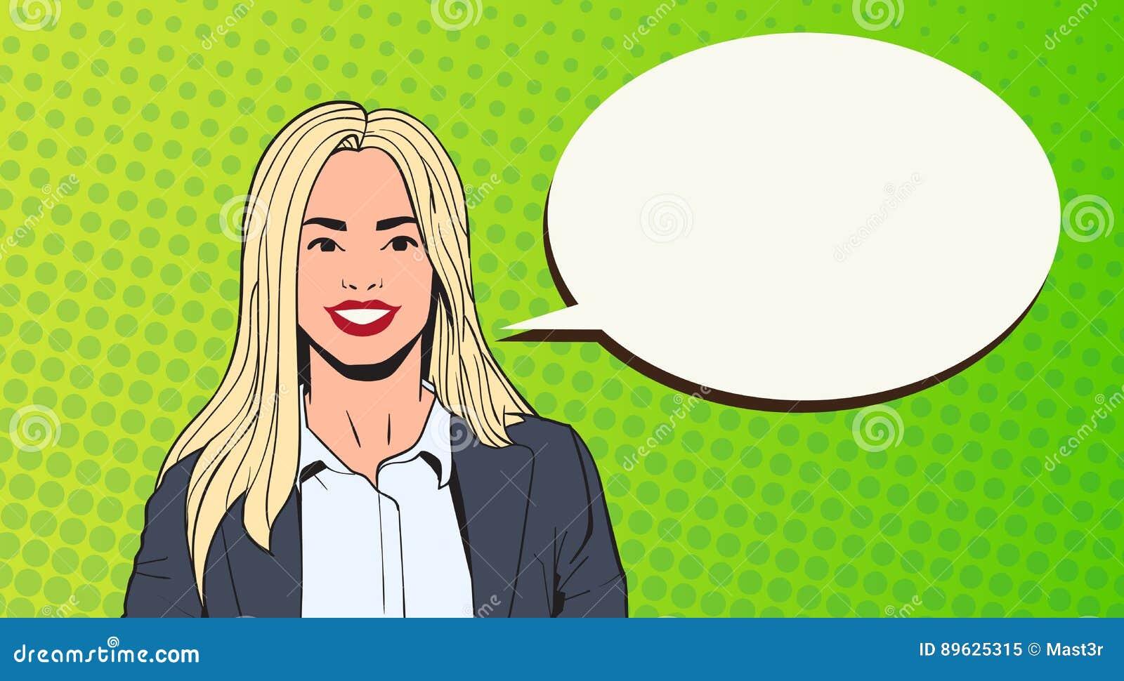 Giovane donna di affari con lo schiocco Art Colorful Retro Style della bolla di chiacchierata