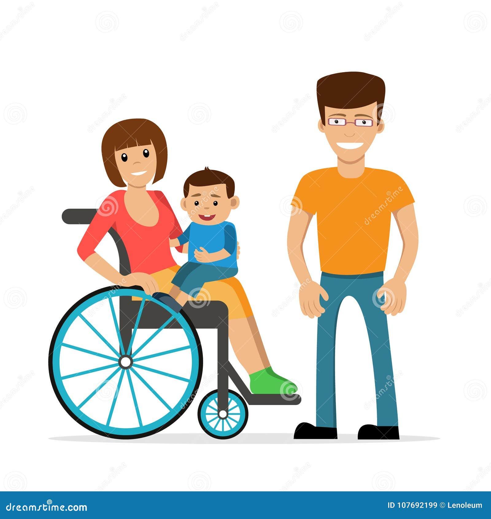 Giovane Donna Disabile In Sedia A Rotelle Con Il Suoi Figlio