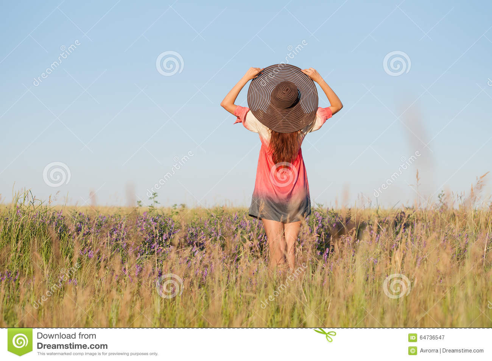 Giovane donna romantica in cappello che sta sul prato nel giorno di estate caldo