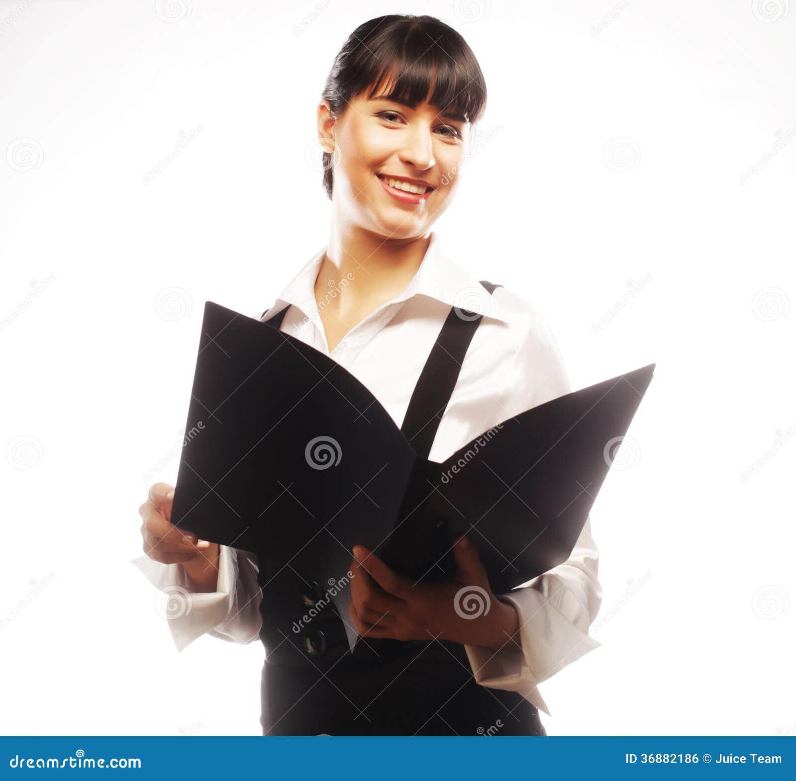 Download Giovane Donna Sorridente Di Affari Con La Cartella Nera Fotografia Stock - Immagine di bello, rappresentante: 36882186