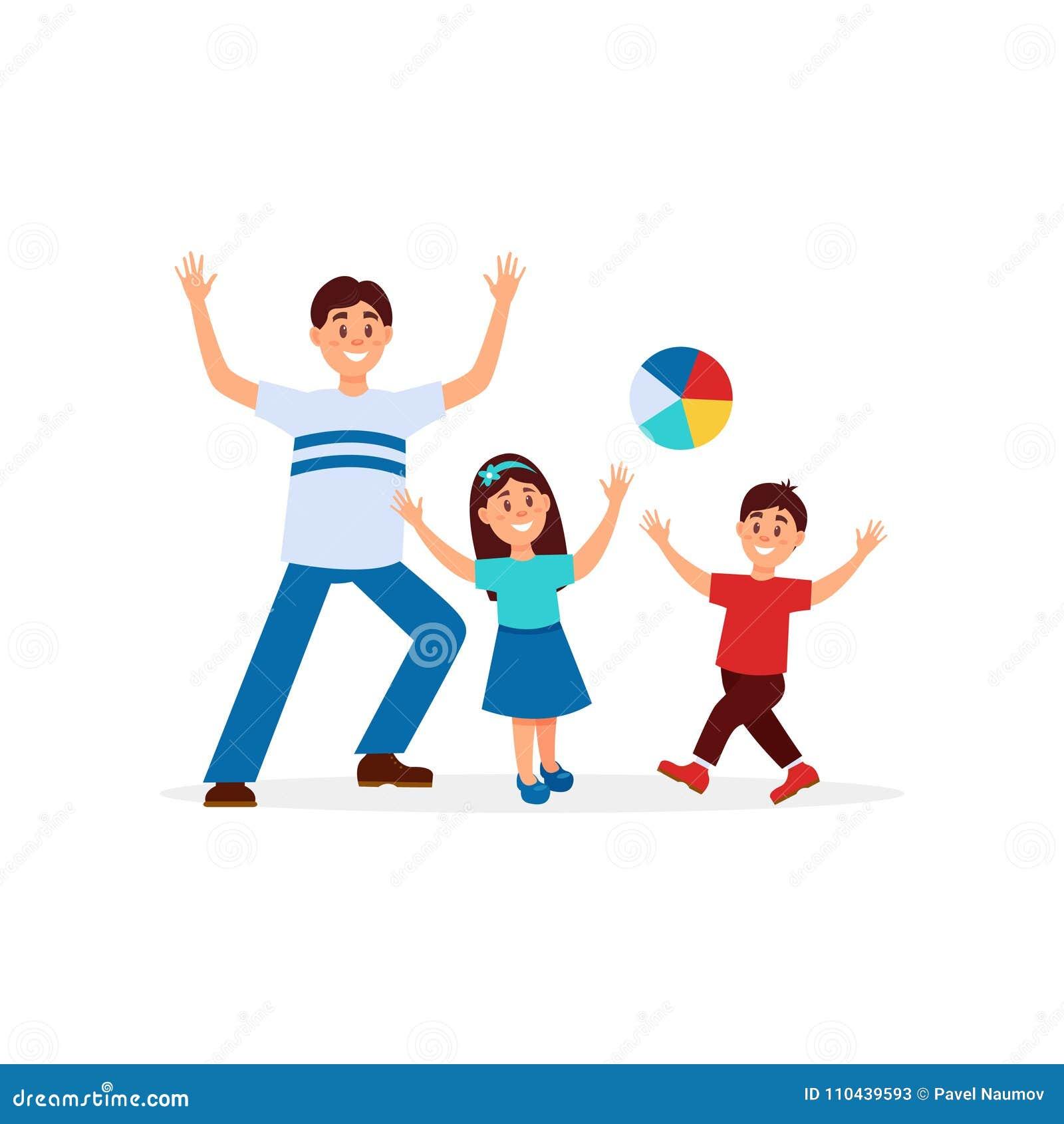 Giovane Padre Che Gioca Nella Palla Con I Suoi Bambini Papà