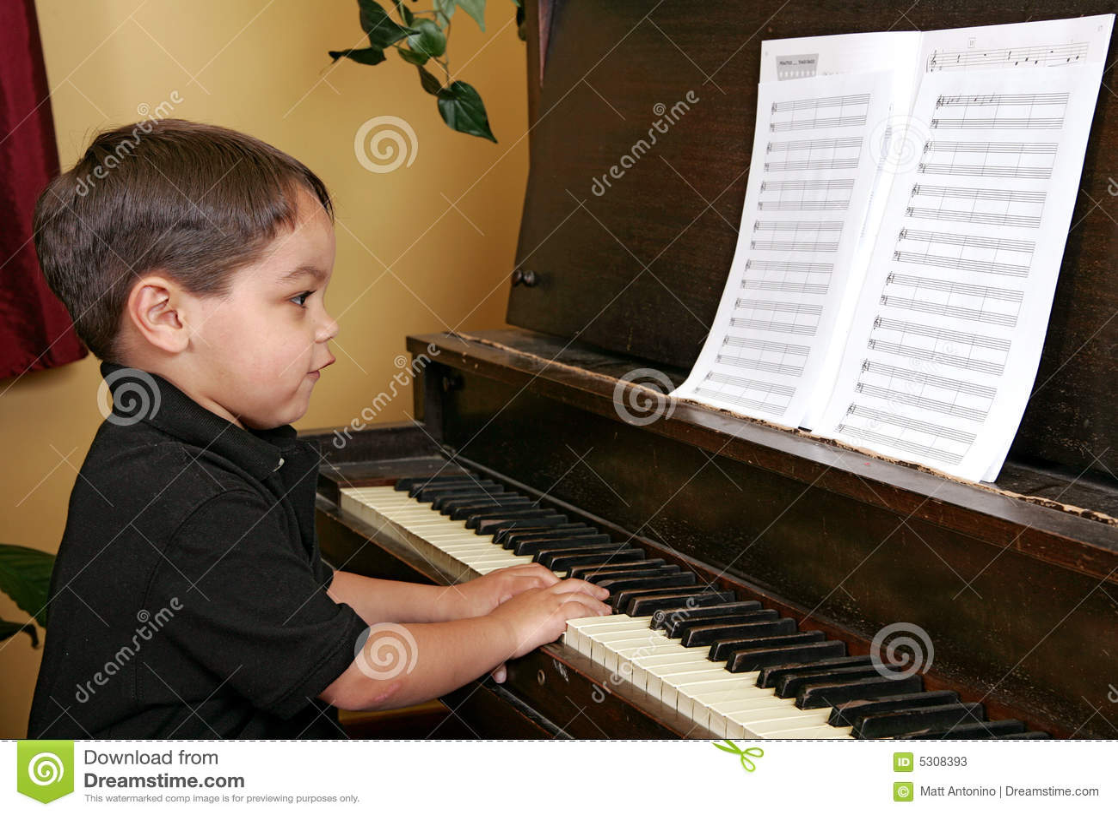 Download Giovane Ragazzo Che Gioca Piano Immagine Stock - Immagine di bianco, ragazzo: 5308393