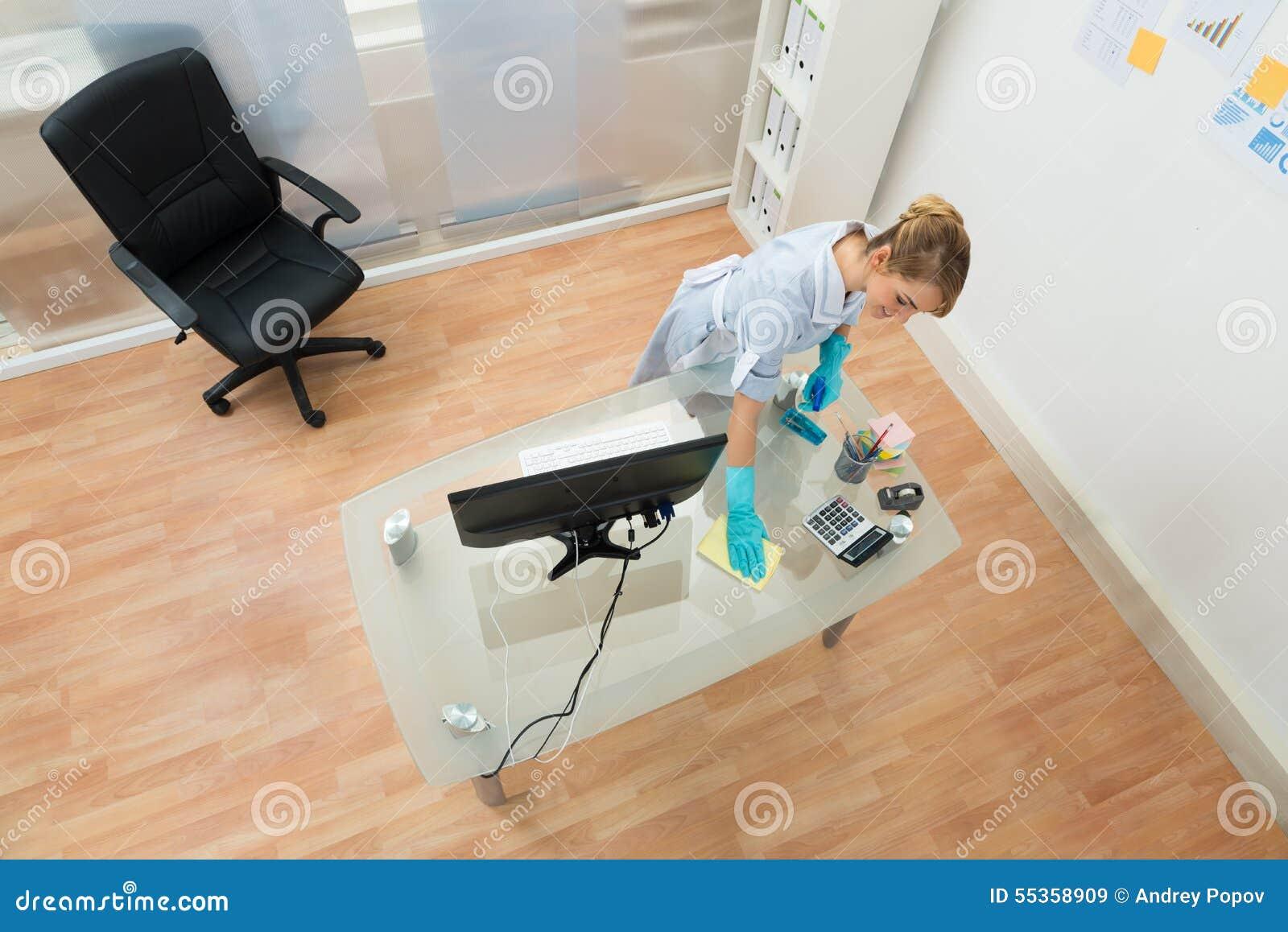 Giovane scrittorio di pulizia della domestica