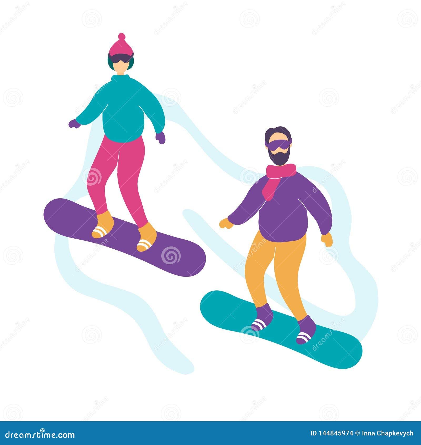 Giovane snowboard moderno sveglio delle coppie