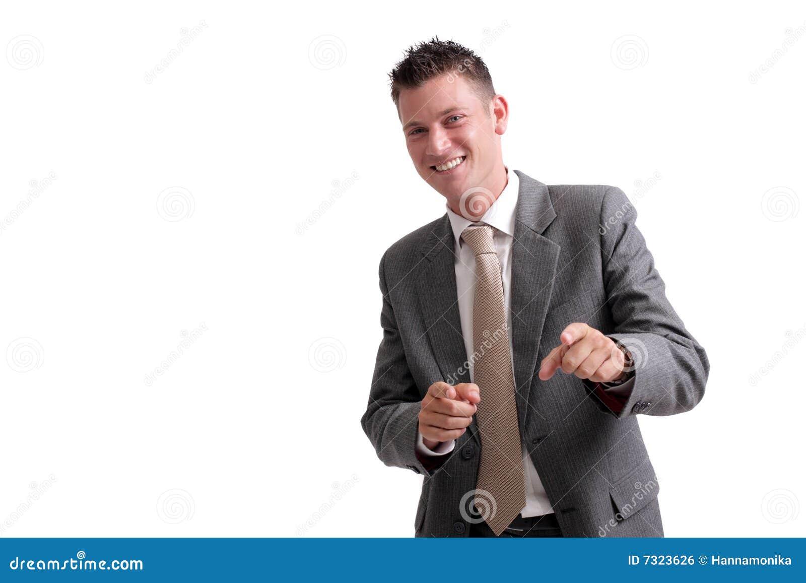Giovane, uomo d affari bello che indica in avanti