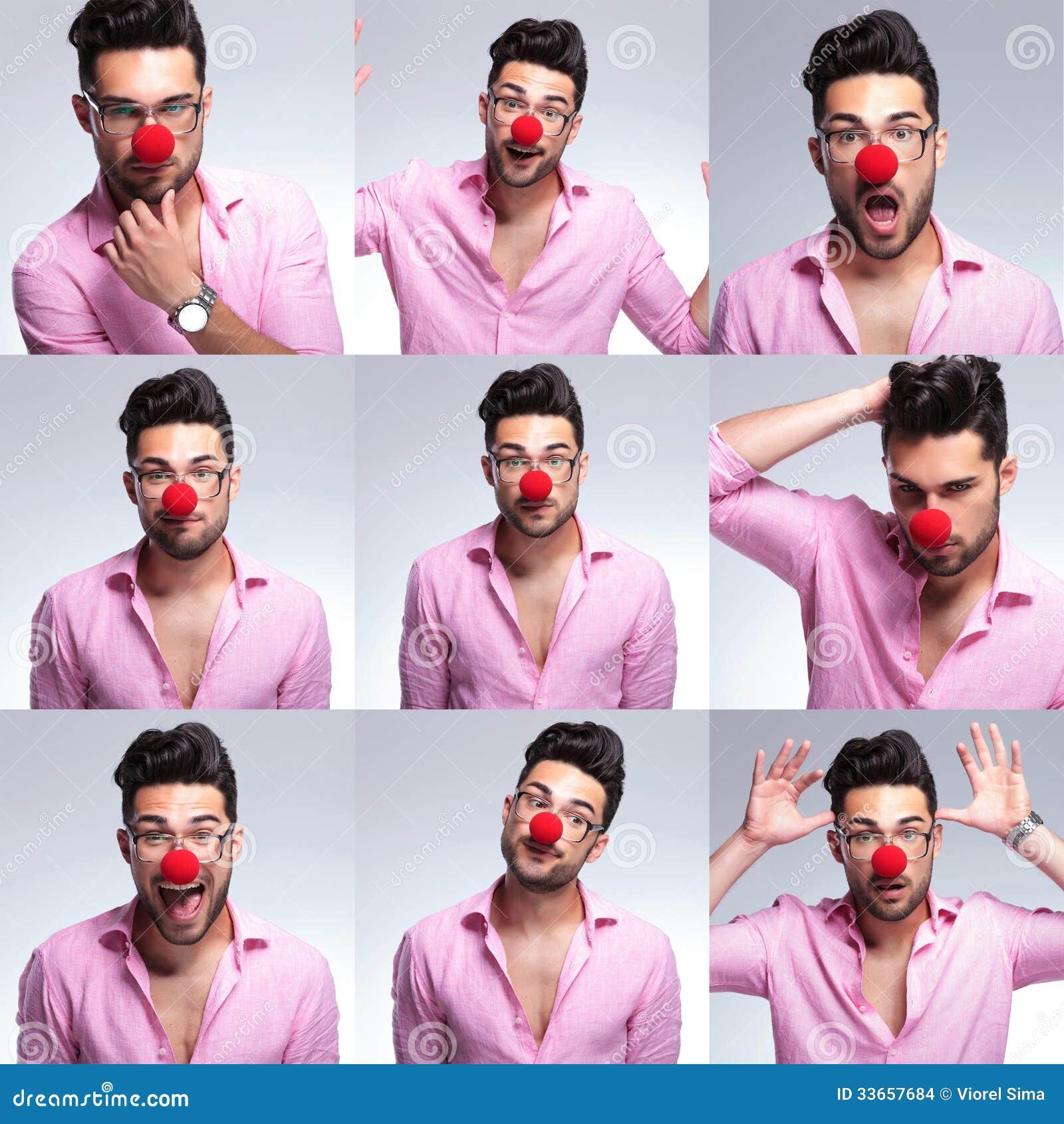 Giovane uomo di modo con il naso rosso