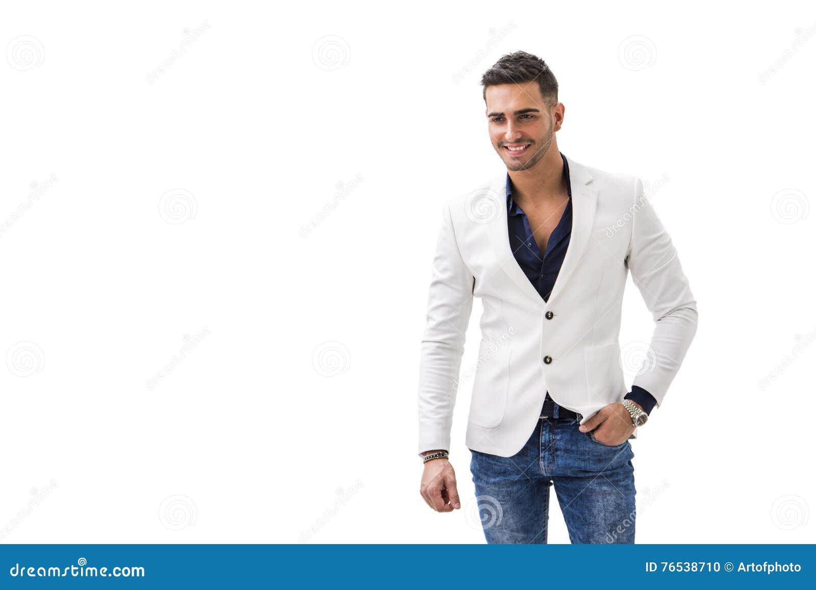 203f6d214a Giovane Uomo Sorridente In Camicia Blu E Rivestimento Bianco ...
