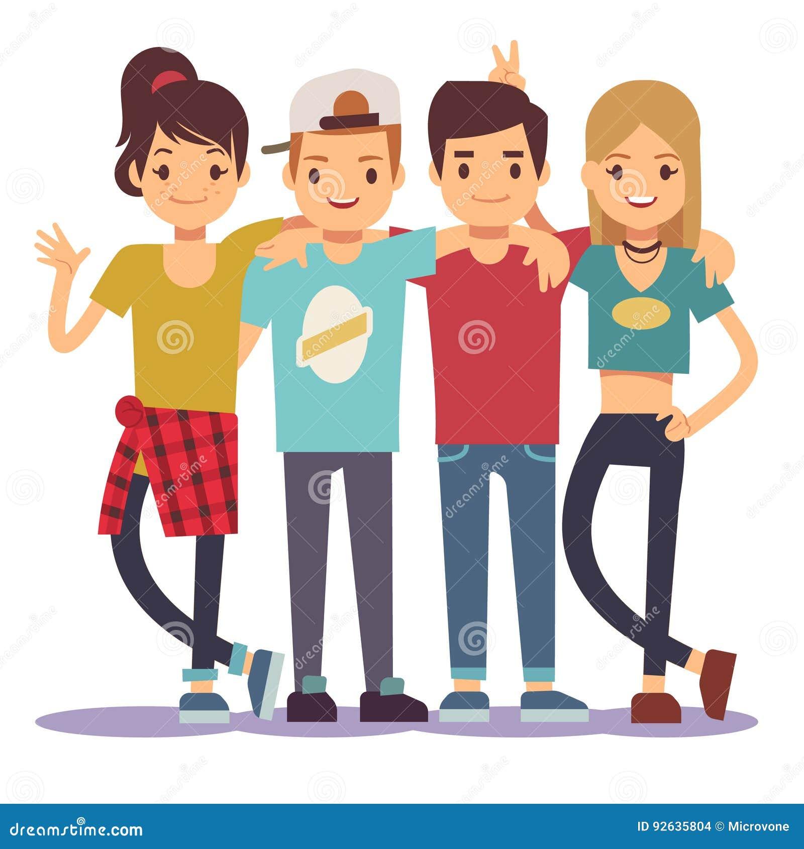 Giovani amici abbraccianti sorridenti Concetto di vettore di amicizia di Adolescentes