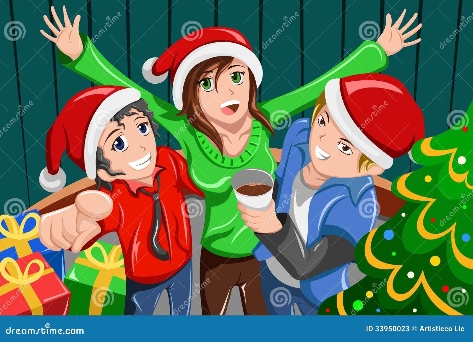 Giovani che hanno una festa di Natale