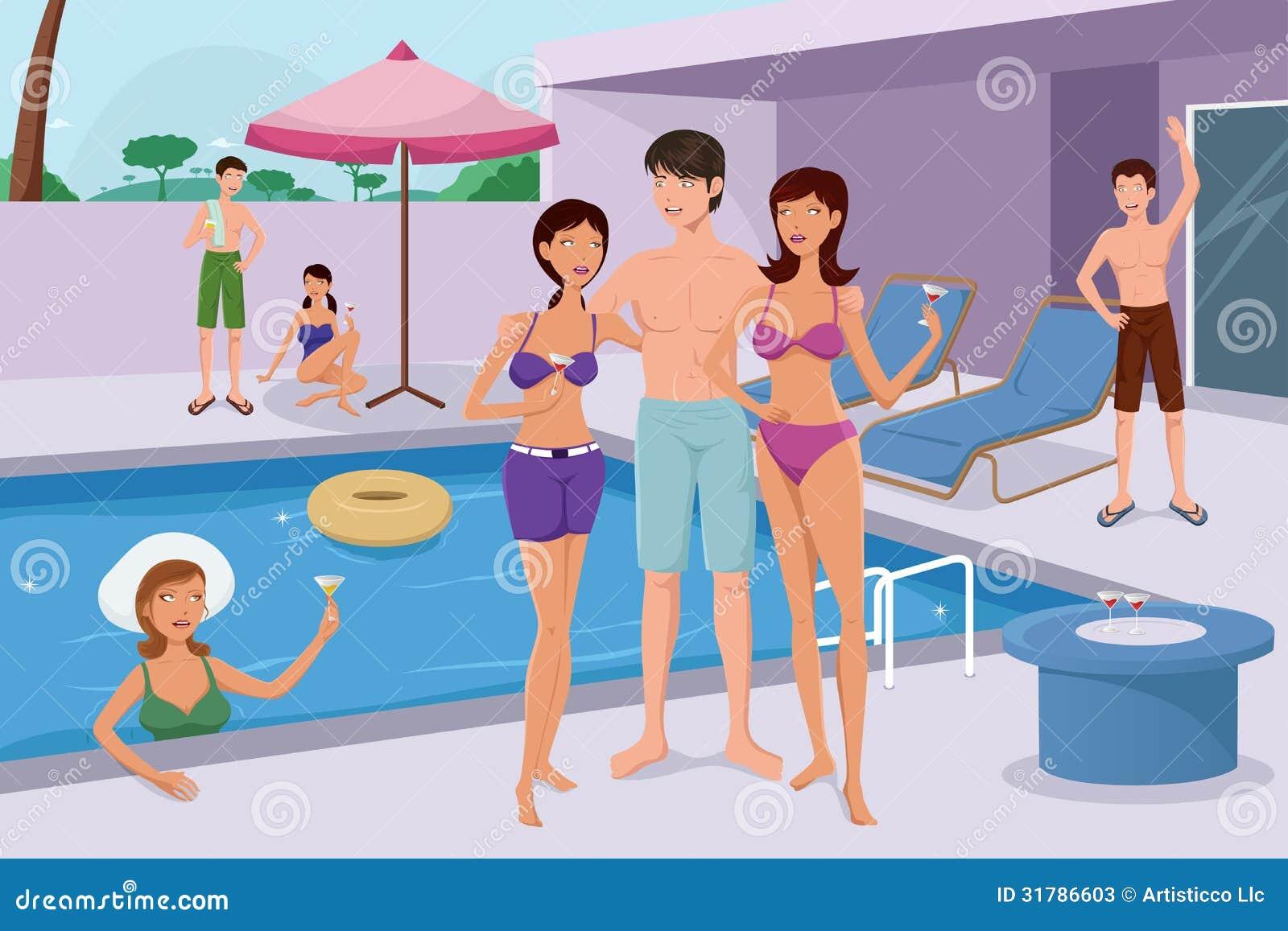 Giovani che hanno una festa in piscina