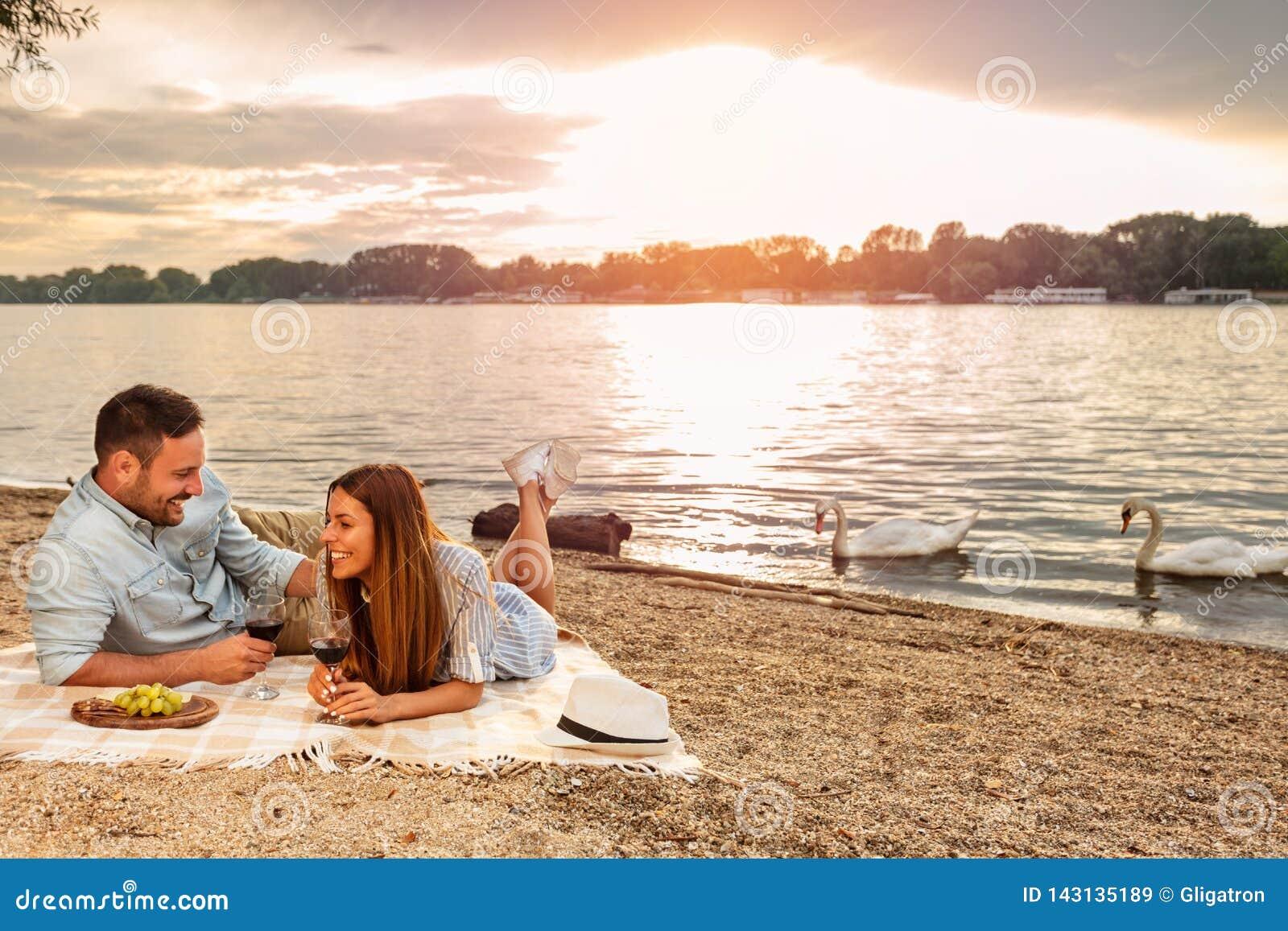 Giovani coppie che godono di un picnic alla spiaggia Trovandosi sulla coperta di picnic Cigni bianchi che nuotano i precedenti