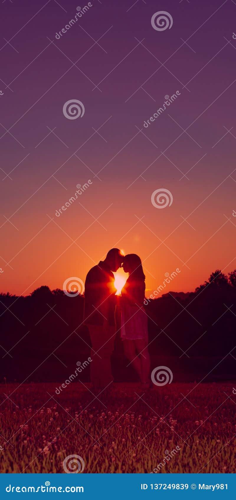 Giovani coppie impegnate felici profilate al tramonto