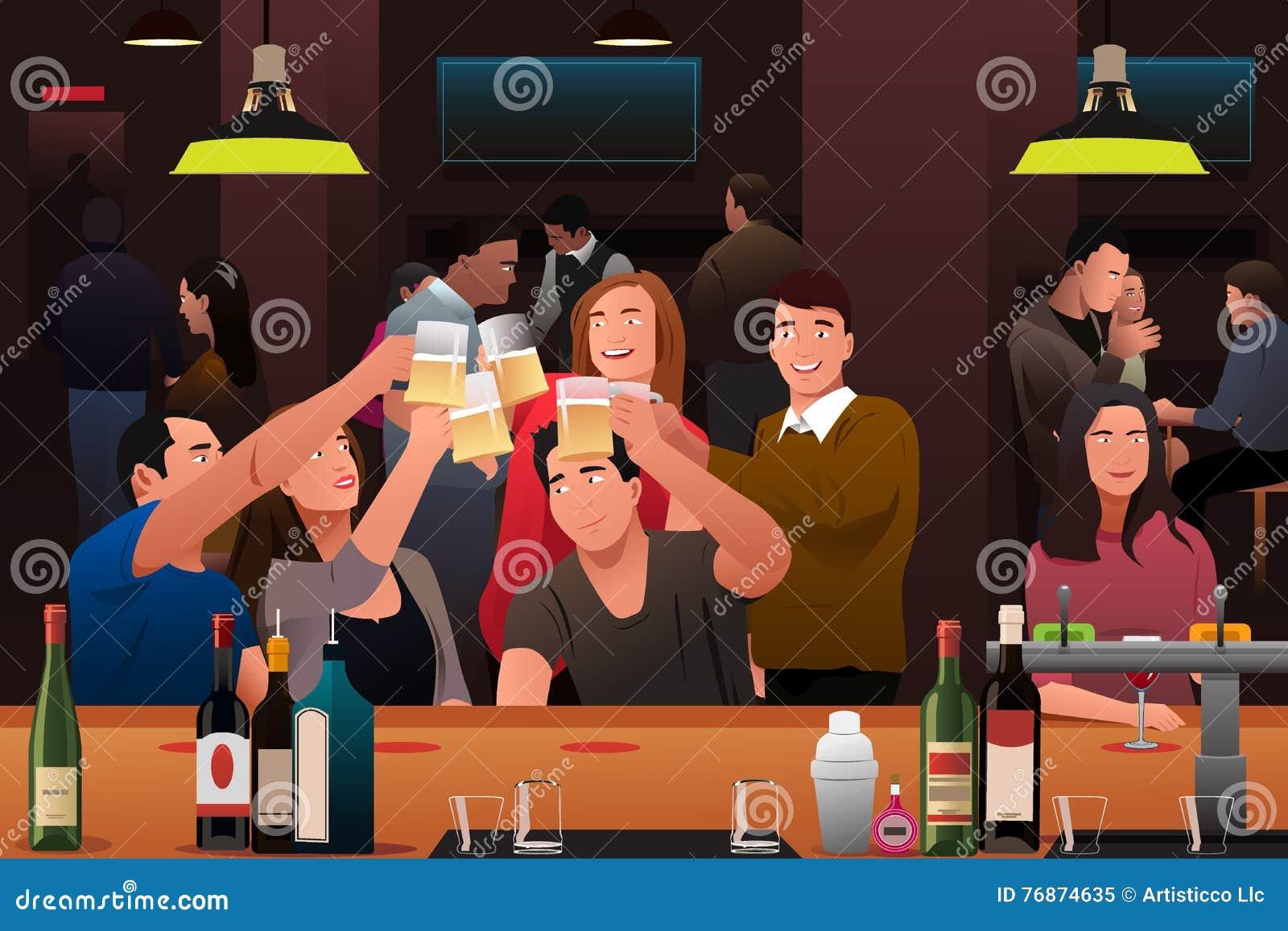 Giovani divertendosi in una barra