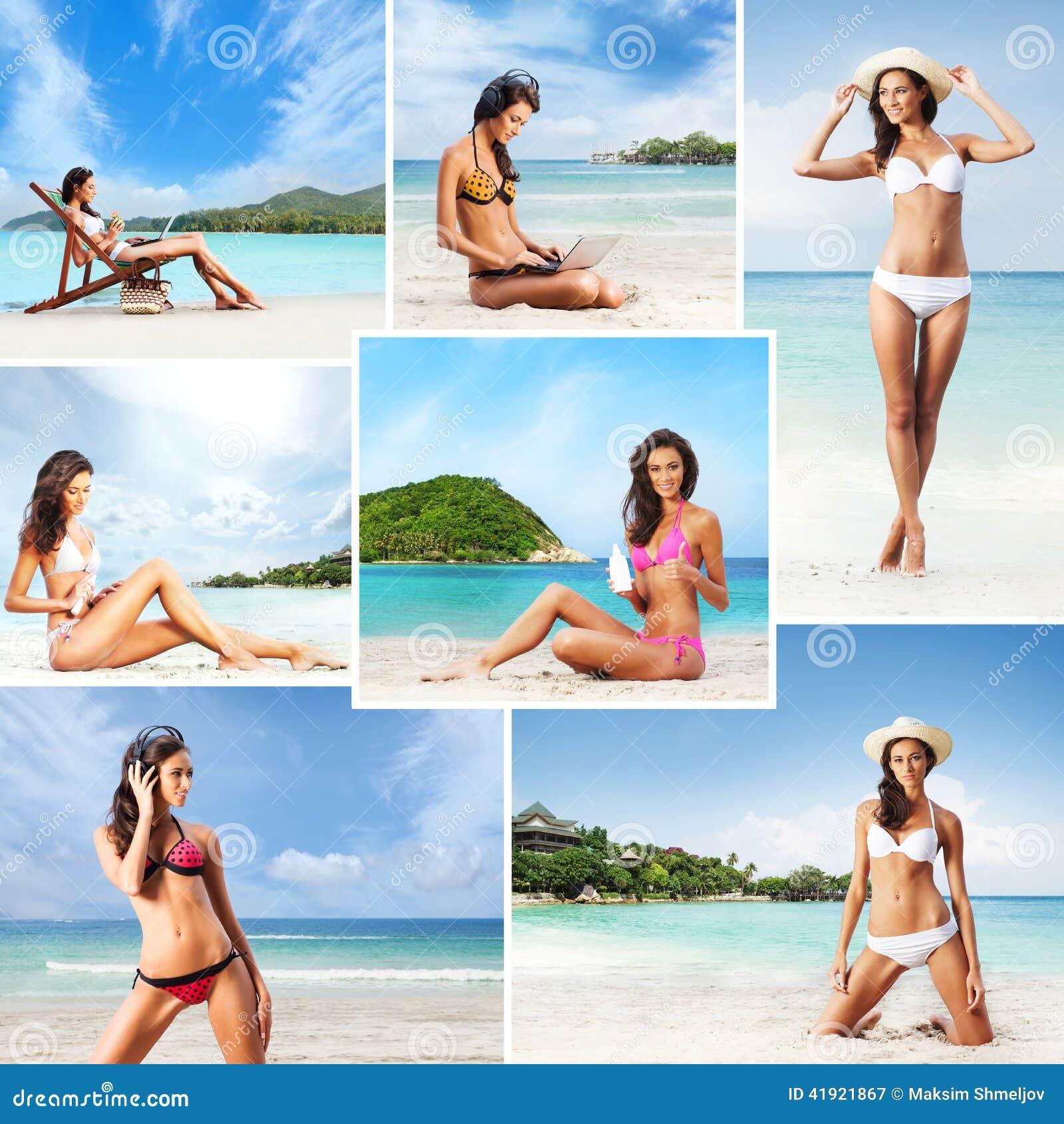 Giovani donne in costume da bagno che si rilassa sulla spiaggia immagine stock immagine di - Donne che vanno in bagno a cagare ...