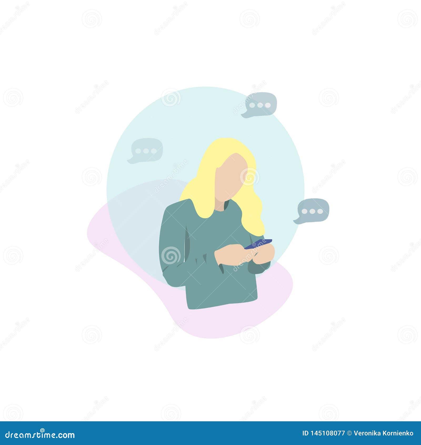 Gir que olha seu móvel texting uma mensagem