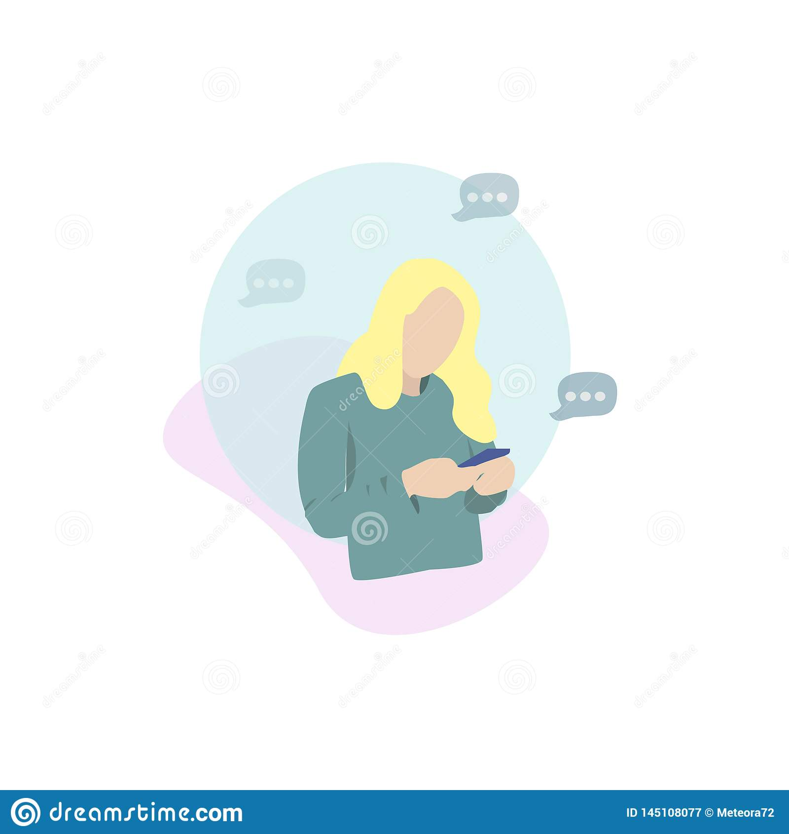 Gir som ser hennes mobilt smsa ett meddelande