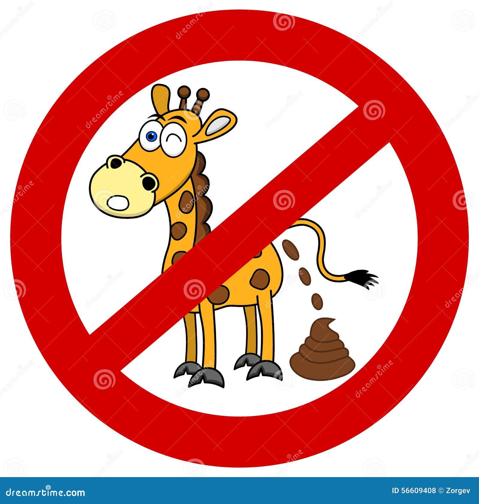 girafe avec la merde dans le panneau de signalisation illustration de vecteur image 56609408. Black Bedroom Furniture Sets. Home Design Ideas