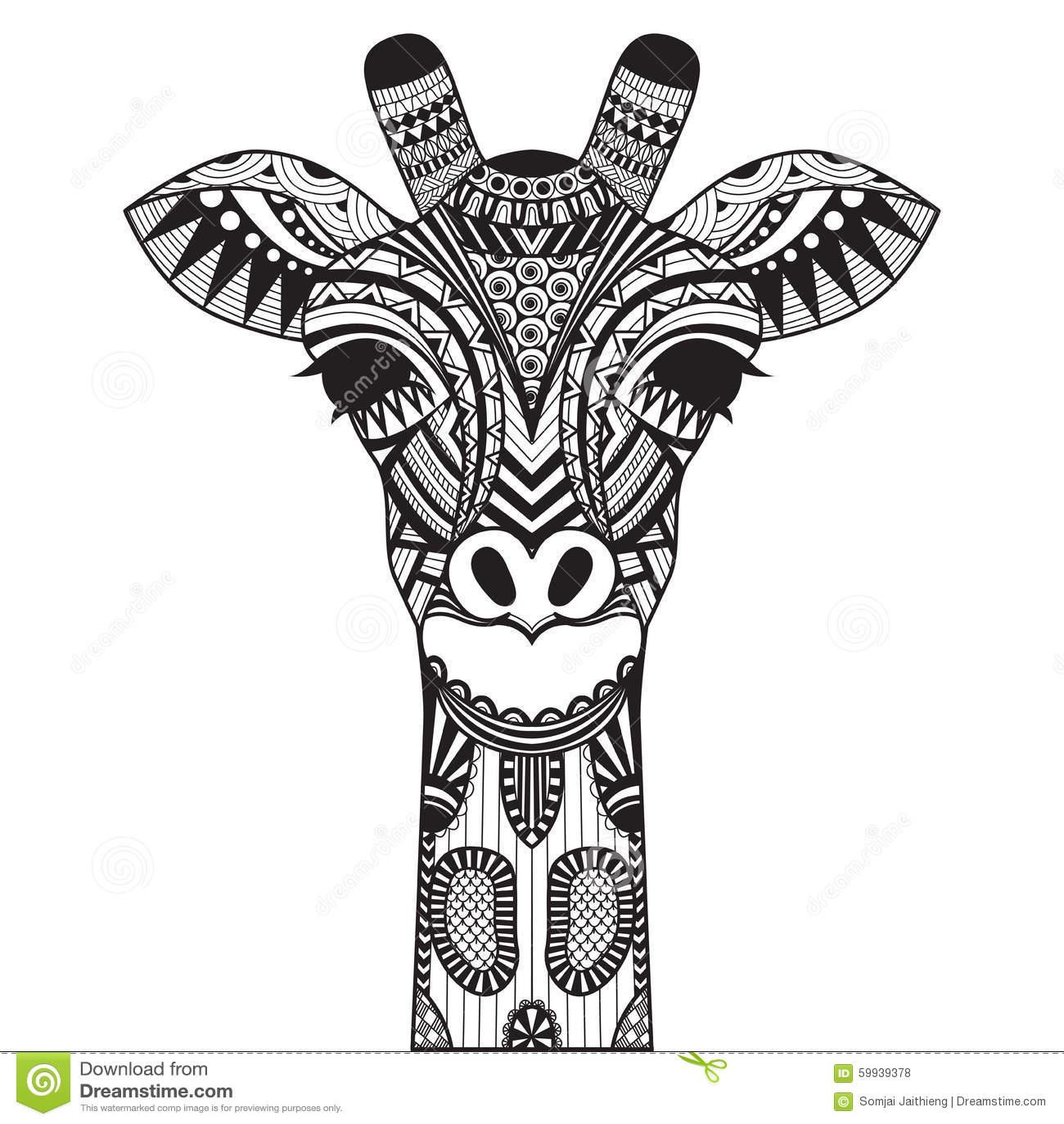 Girafe de zentangle dessus avec le fond illustration de for Giraffe mandala coloring pages