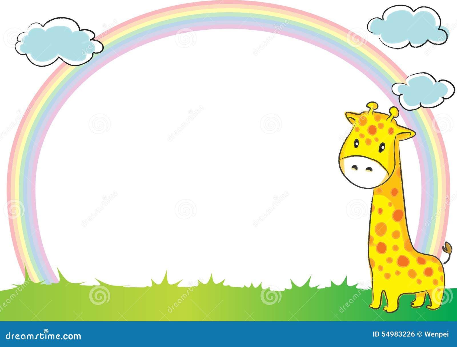 Giraff och regnbåge i bakgrunden