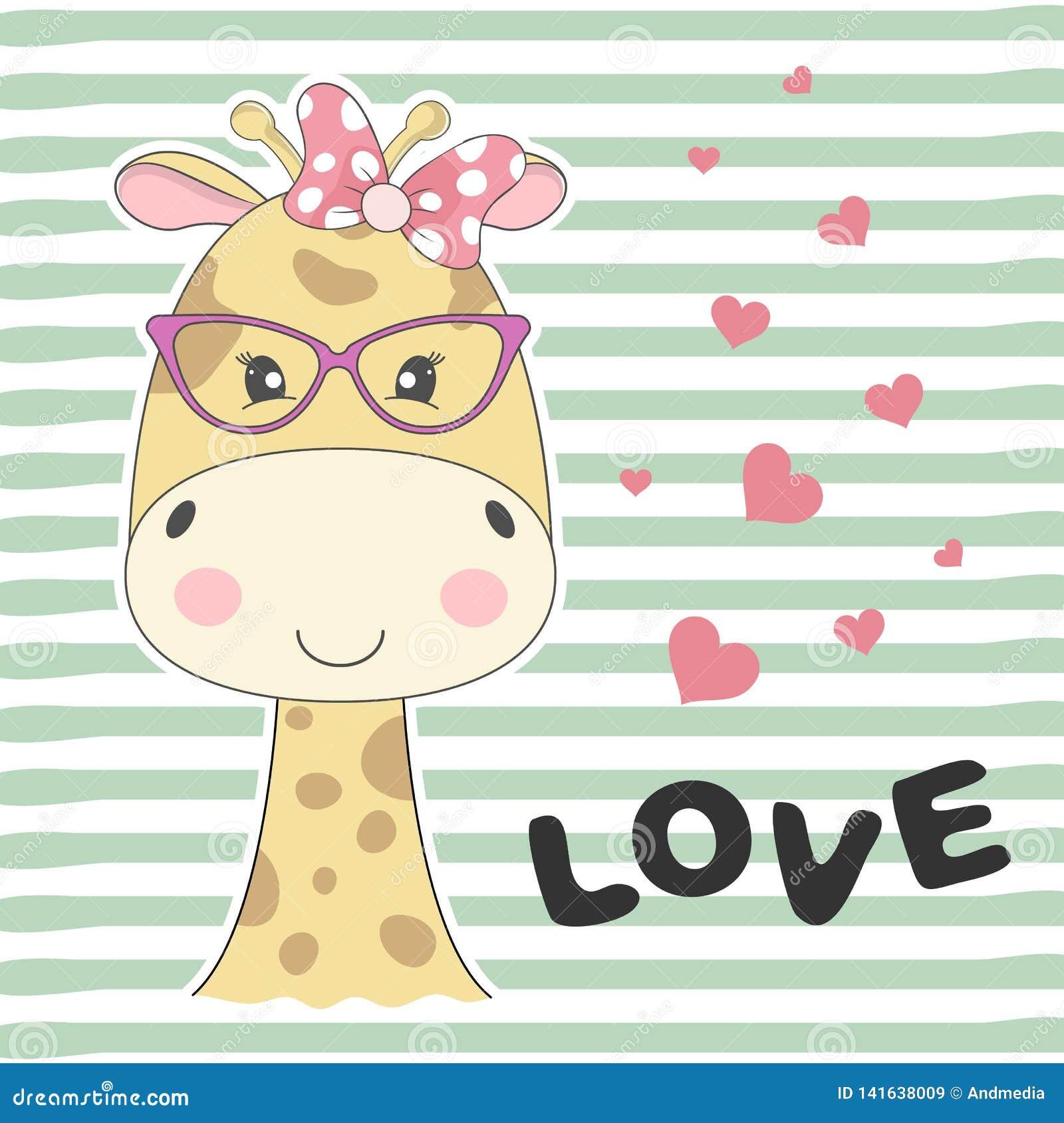 Giraffa adorabile sveglia del bambino della cartolina d auguri con i vetri