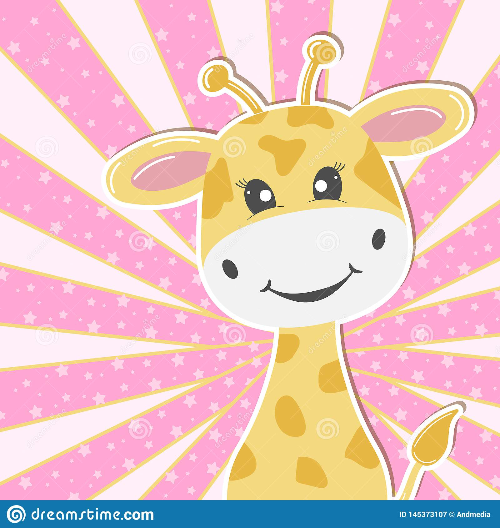 Giraffa adorabile sveglia del bambino della cartolina d auguri Cartolina d auguri