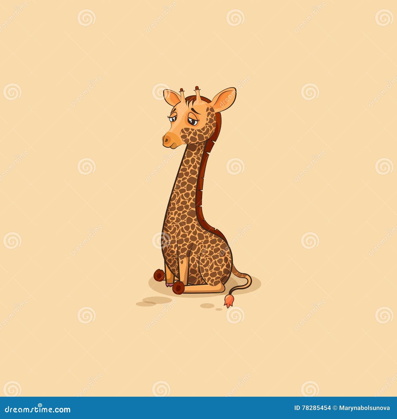 Giraffa del fumetto del carattere di Emoji triste e frustrata
