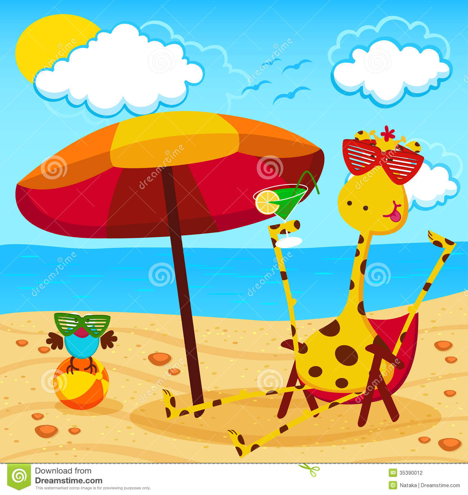 Giraffe And A Bird On The Beach Stock Vector Image