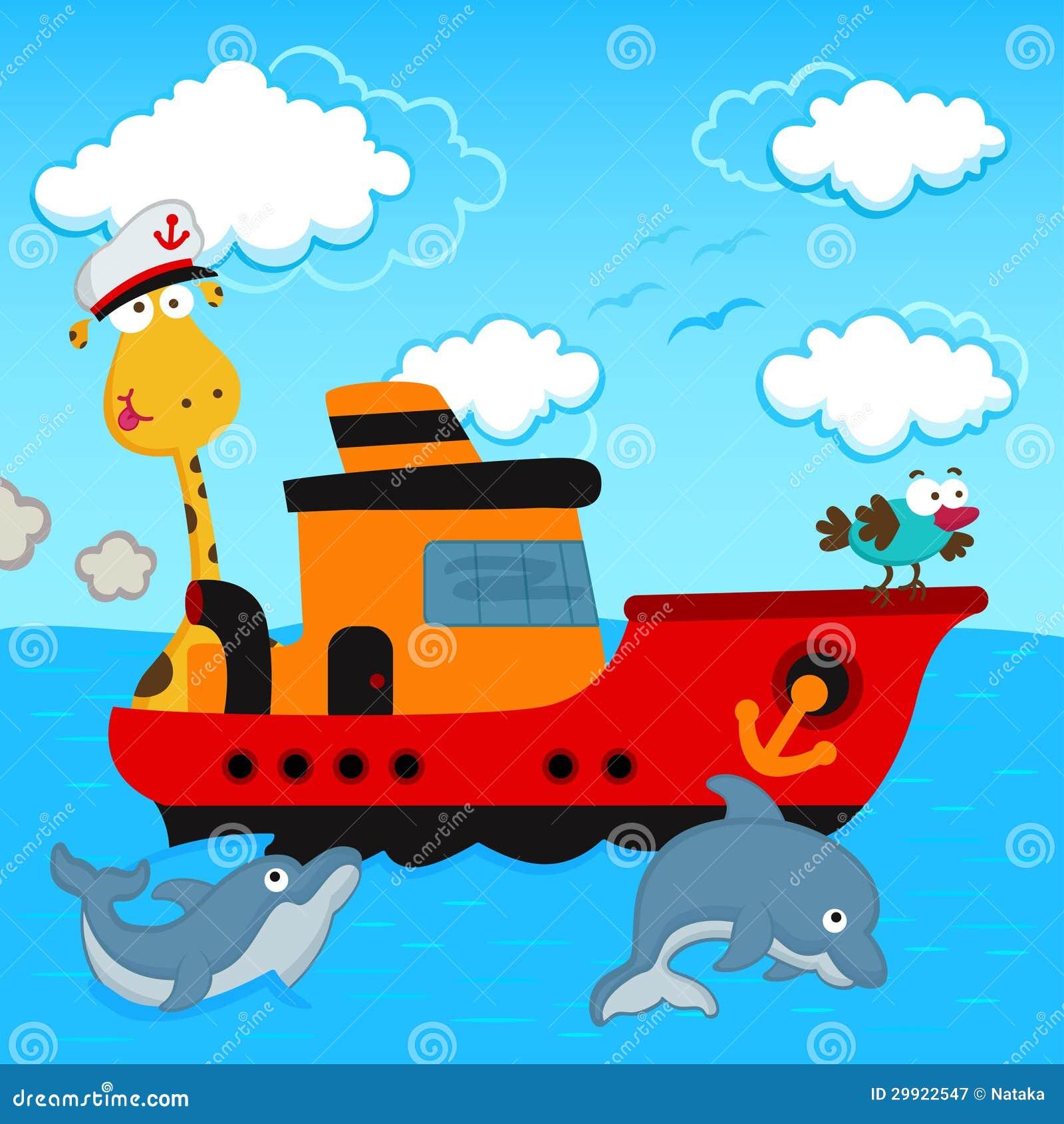 Giraffe and bird in a ship