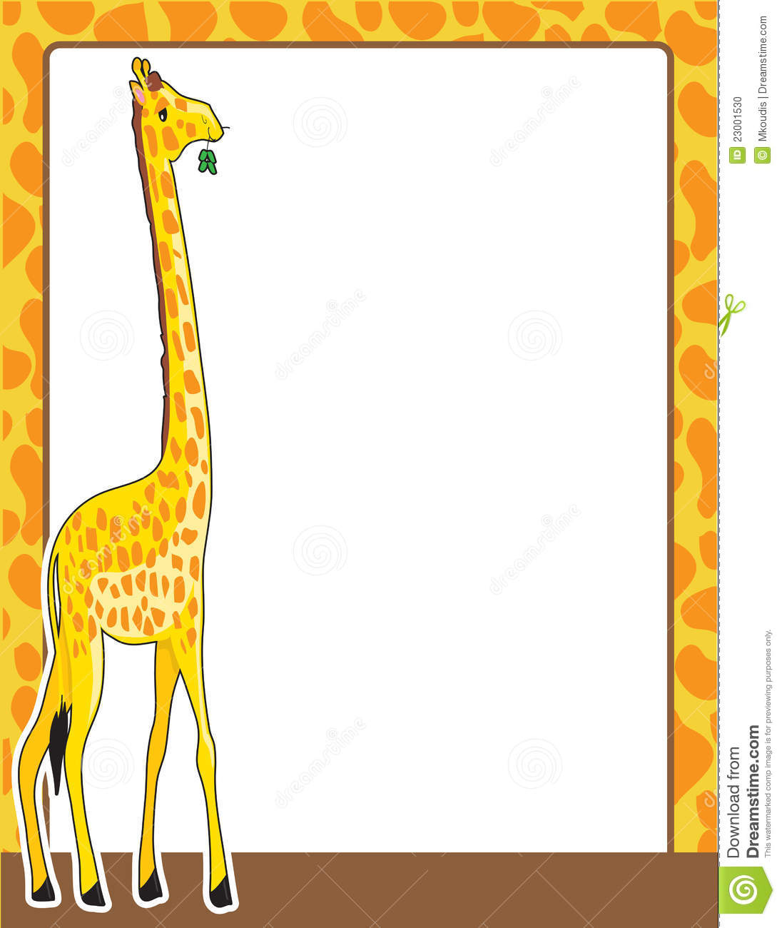 border framed in a pattern, resembling that of the giraffe standing ...