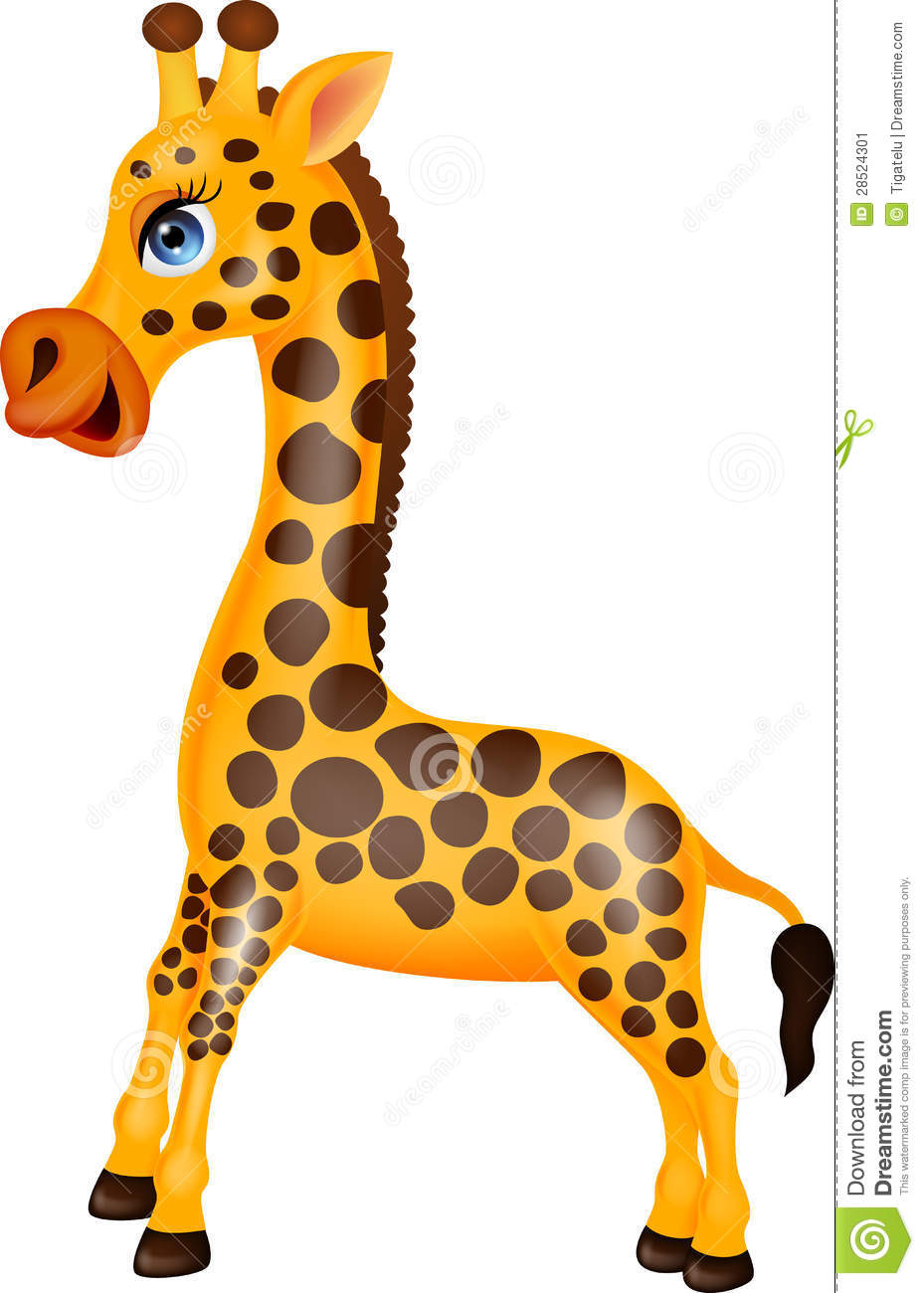 Illustration of funny Giraffe cartoon character.