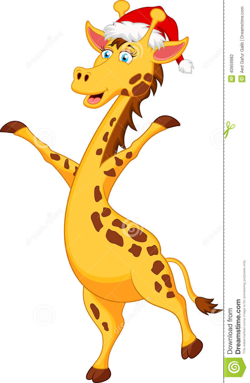 Giraffe Cartoon With Christmas Hat Stock Vector - Image: 40959982