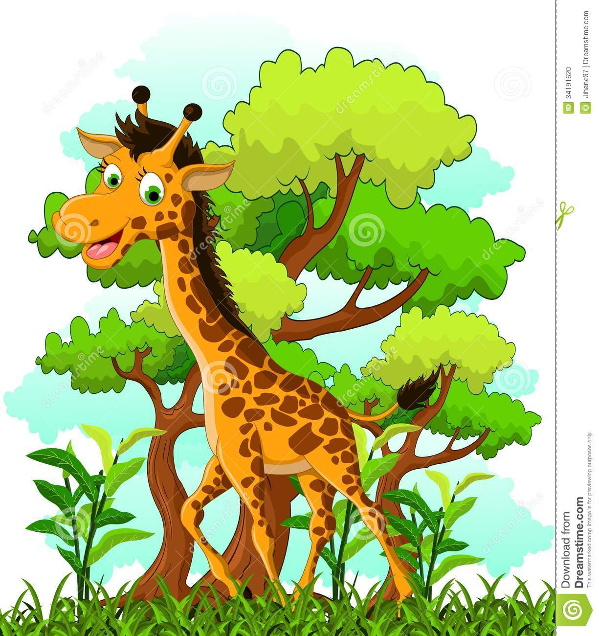 Giraffe Cartoon On Forest Background Stock Photo - Image: 34191620