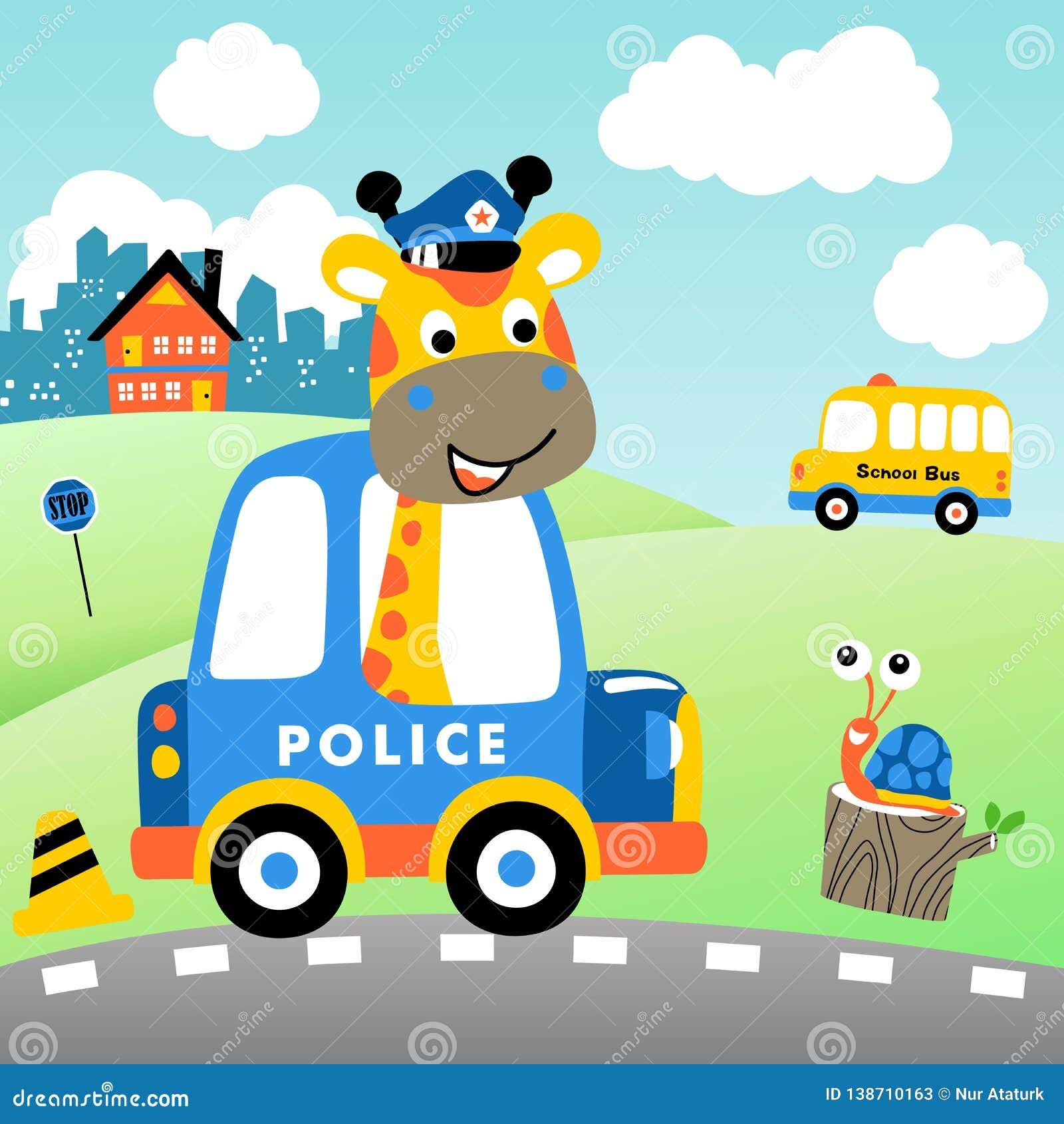 Giraffe cartoon the traffic cop on cityscape background