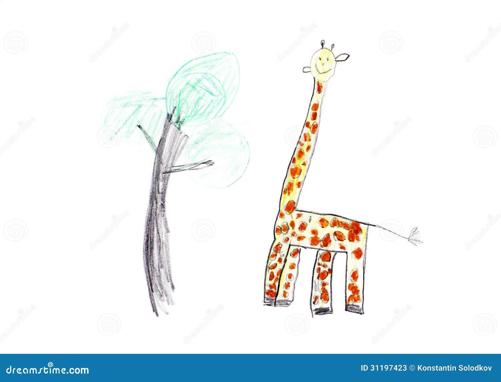Giraffe Childrens Drawing Stock Photos Image 31197423