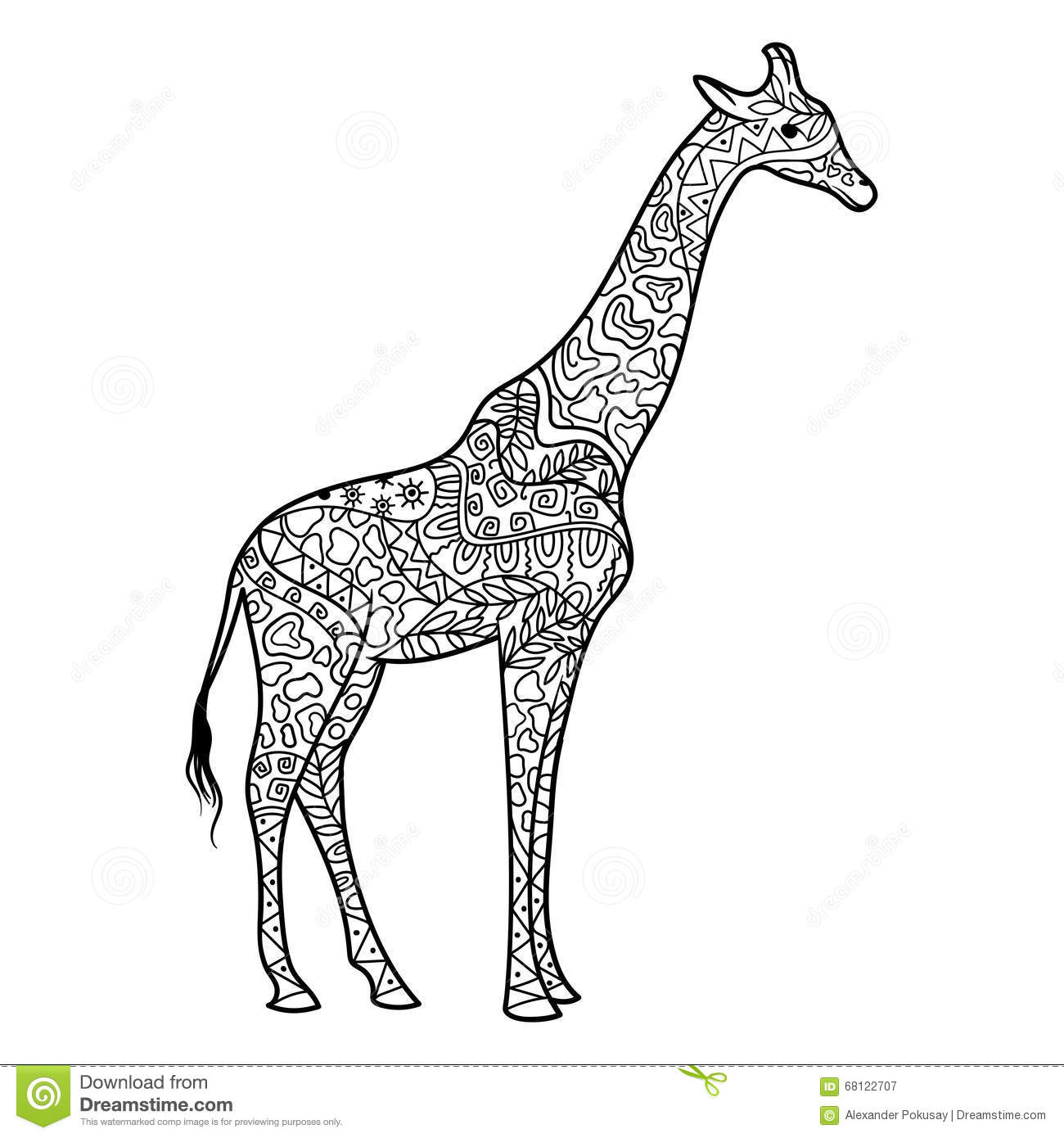 - Giraffe Coloring Book For Adults Vector Stock Vector