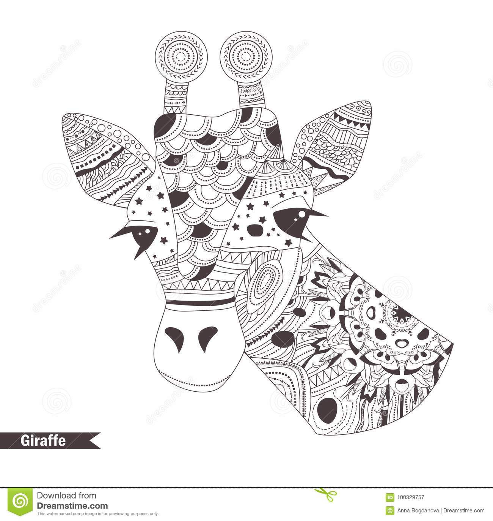 Giraffe. Coloring book stock vector. Illustration of mandala ...