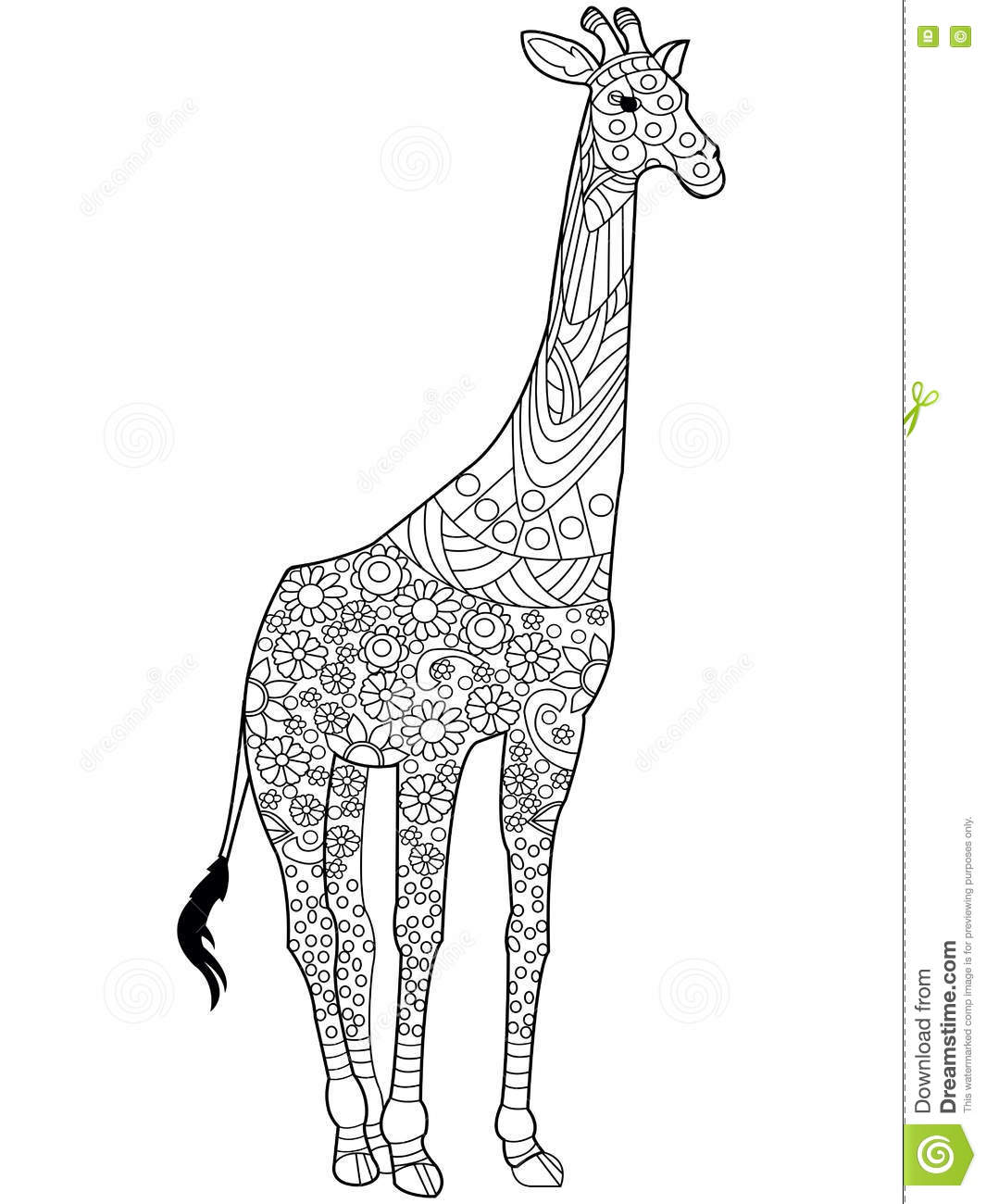 Giraffe Coloring Book Vector For Adults Stock Vector