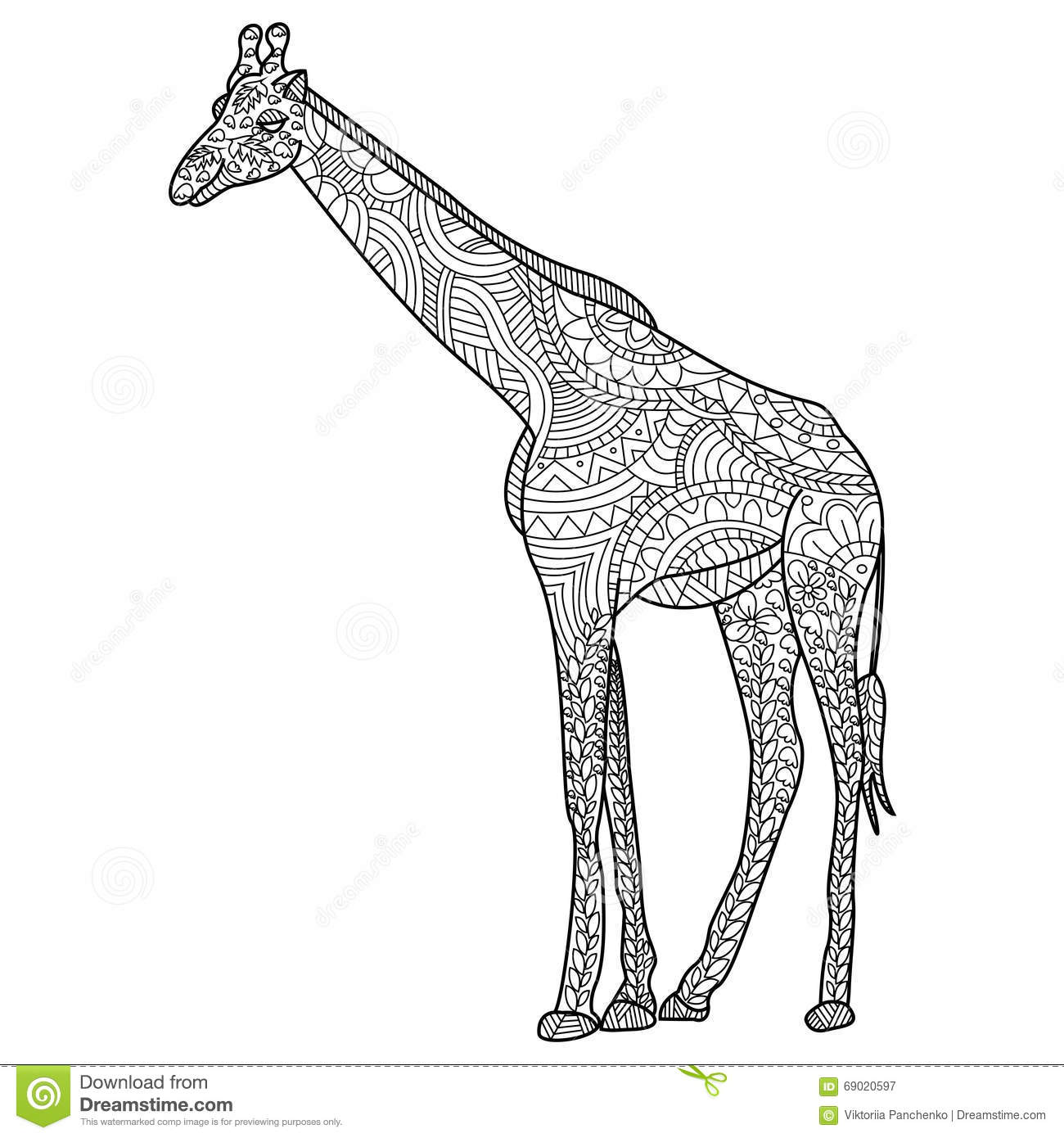 Giraffe Coloring Vector For Adults Stock Vector Illustration of