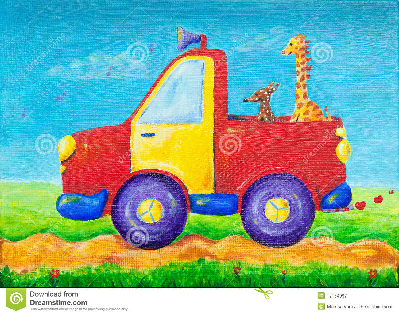 Giraffe And Dog Riding On A Red Pick Up Truck Stock