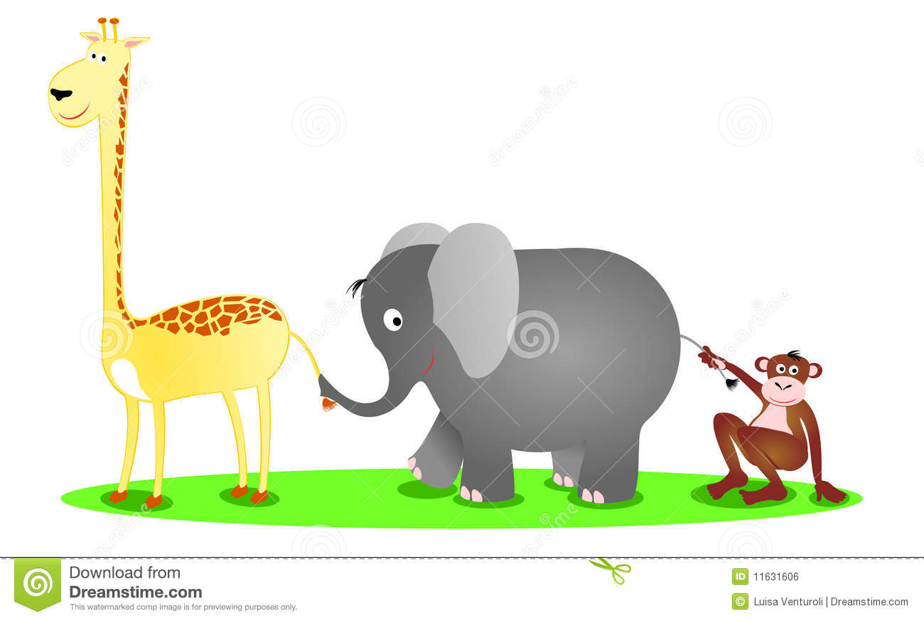 Vector illustration depicting a giraffe, an elephant and a chimp in a ...