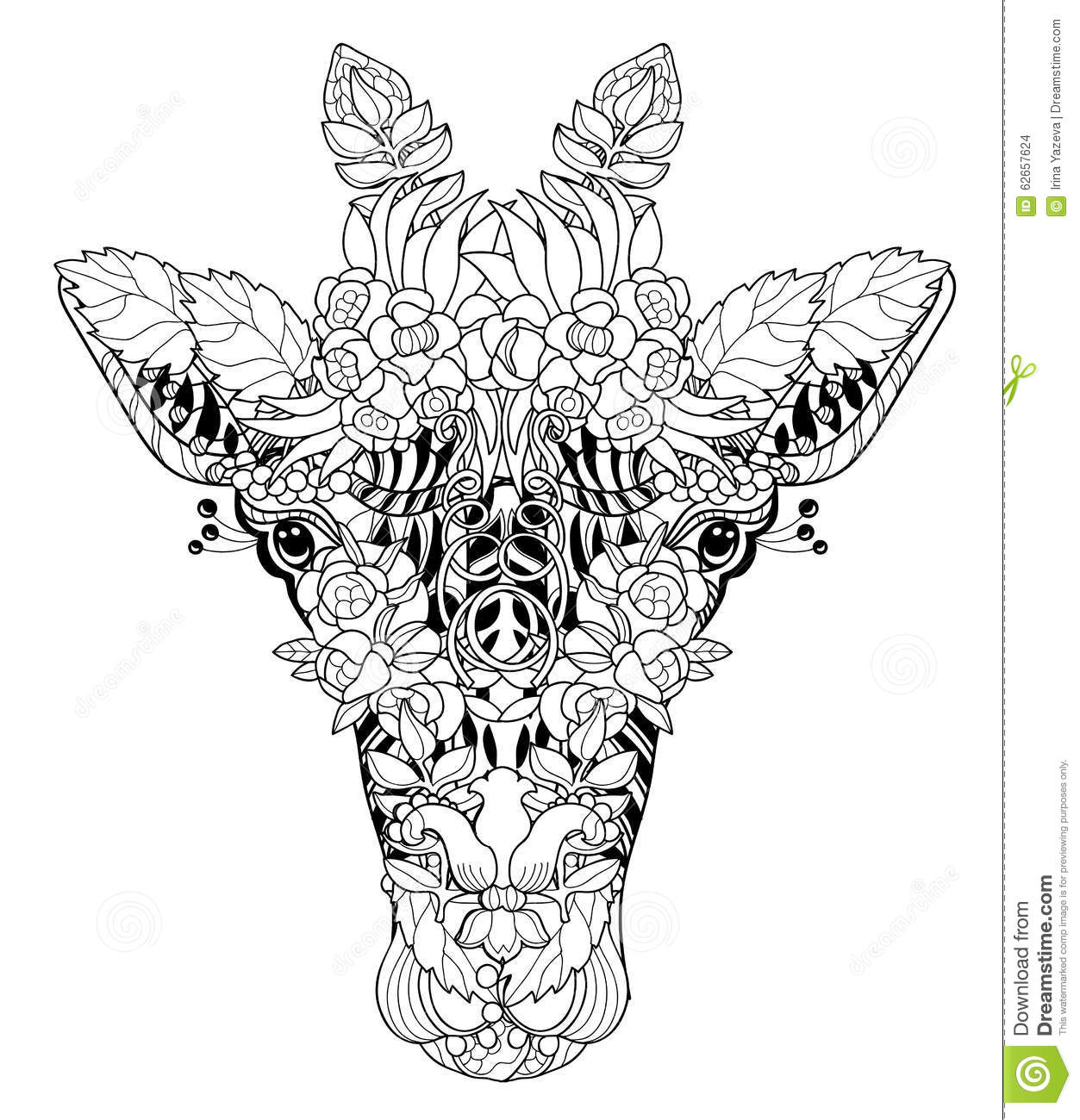 Giraffe head doodle on white background stock vector for Giraffe mandala coloring pages