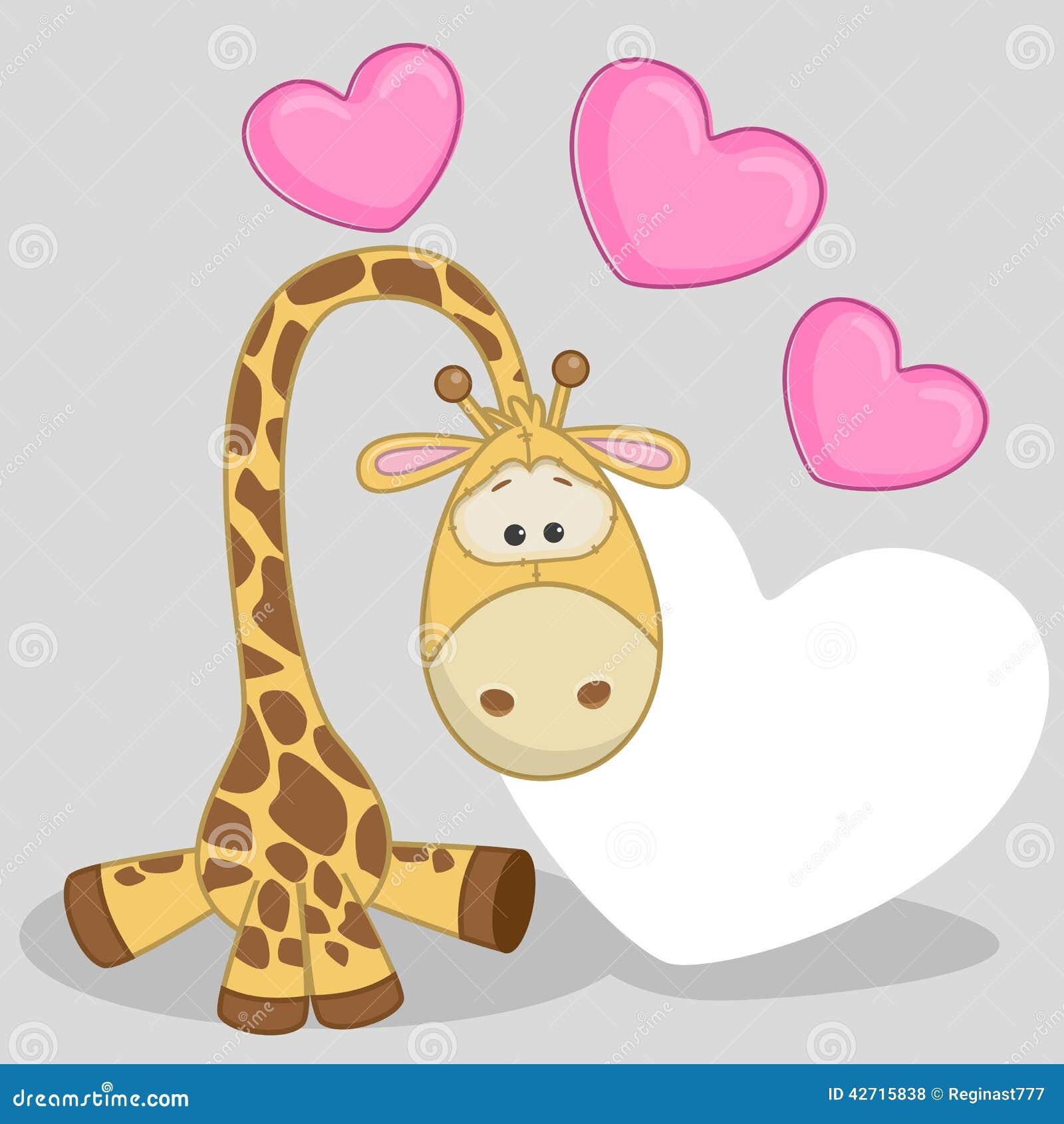 giraffe with hearts stock vector image 42715838